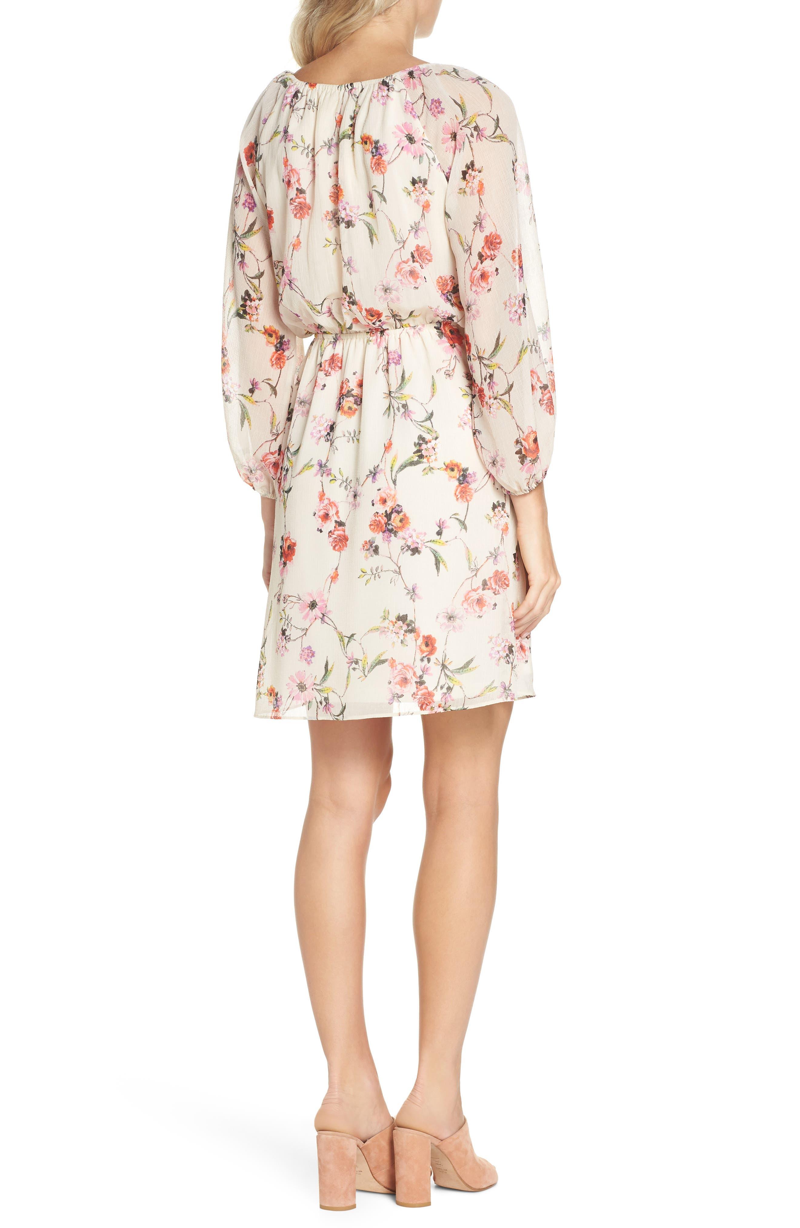 Bonita Oasis Floral Dress,                             Alternate thumbnail 2, color,                             IVORY MULTI