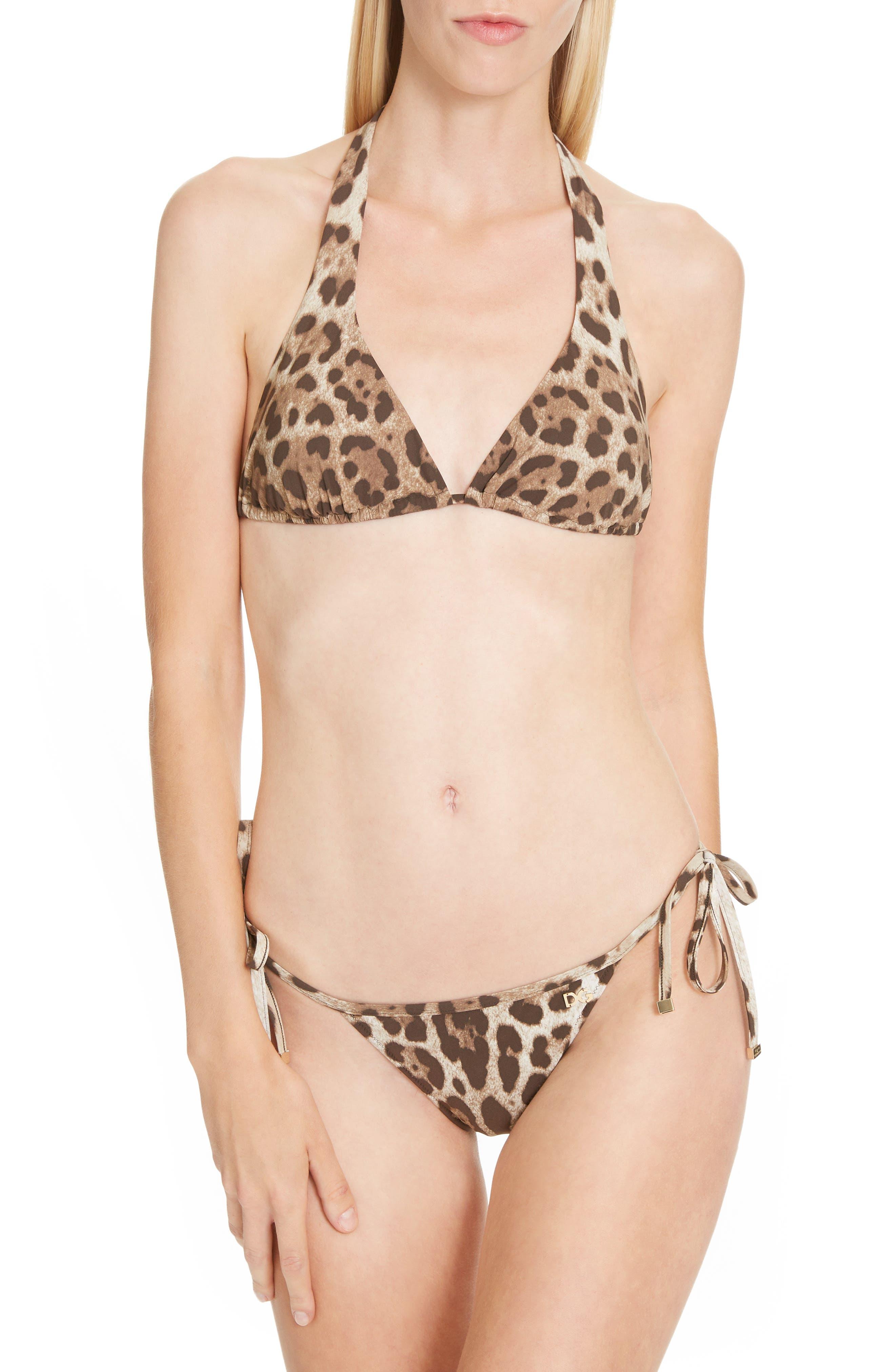 DOLCE&GABBANA Side Tie Bikini Bottoms, Main, color, LEO