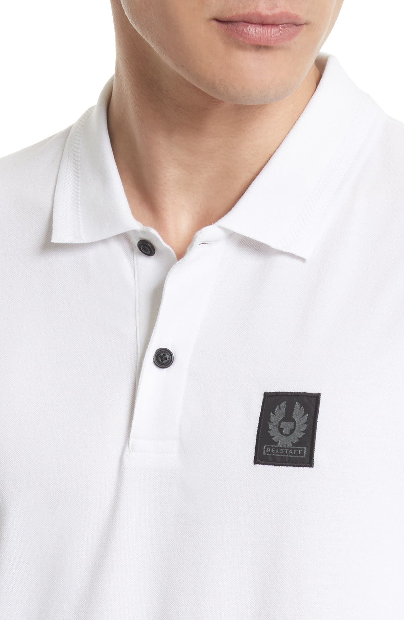 Stannett Piqué Polo,                             Alternate thumbnail 4, color,                             WHITE