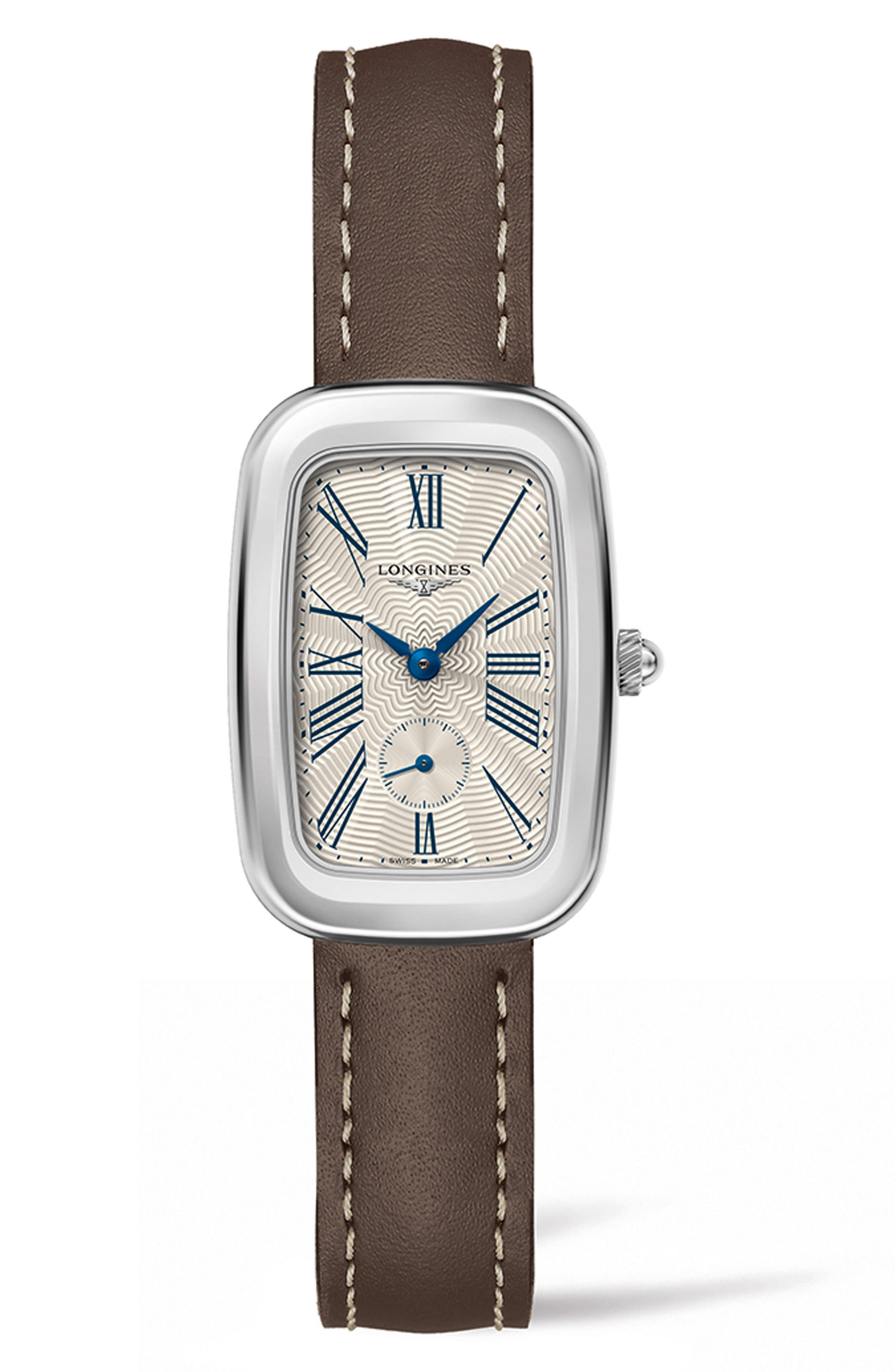 Equestrian Leather Strap Watch, 24.7mm x 36mm,                         Main,                         color, GREY/ SILVER