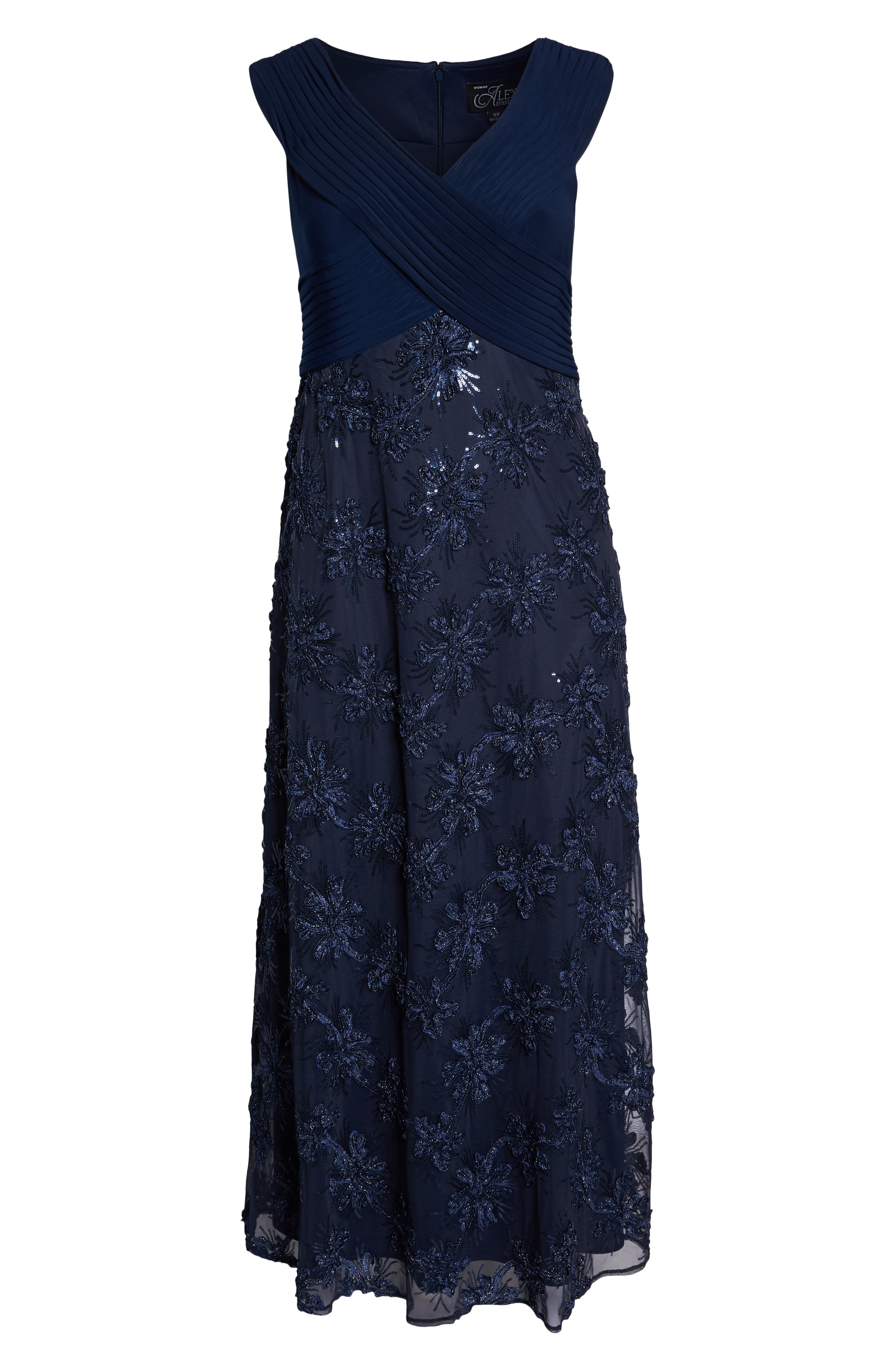 Embellished A-Line Gown,                             Alternate thumbnail 7, color,                             NAVY
