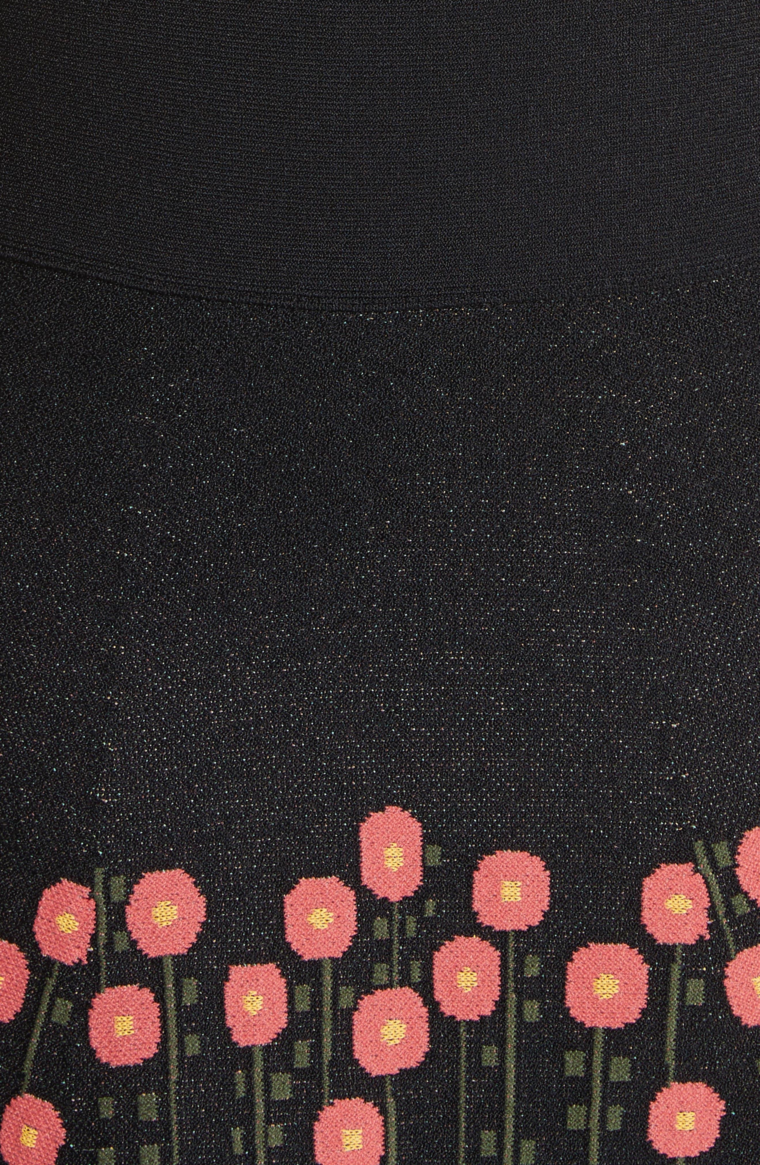 Floral Jacquard Knit Dress,                             Alternate thumbnail 5, color,                             001
