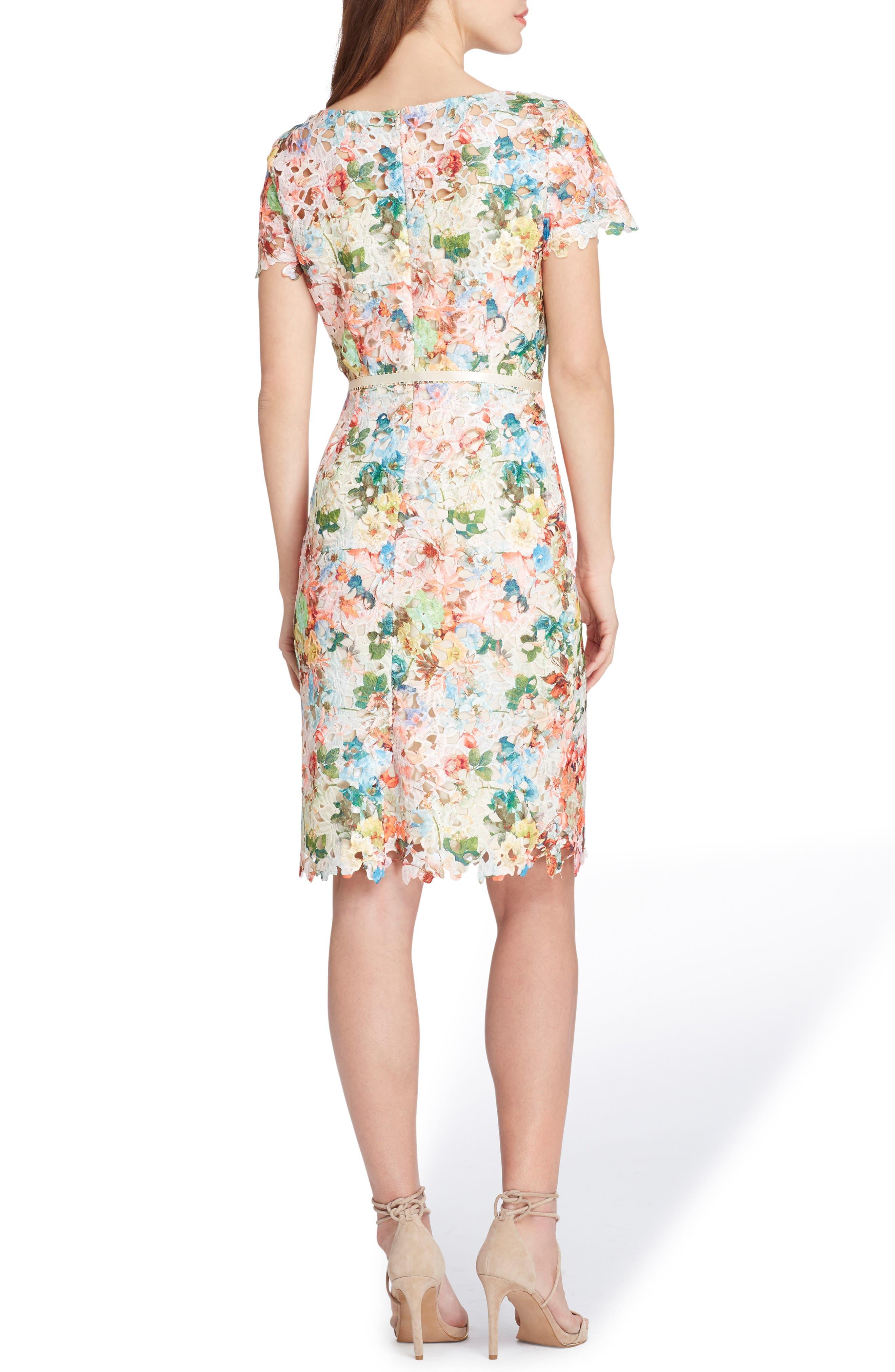 TAHARI,                             Print Lace Sheath Dress,                             Alternate thumbnail 2, color,                             800