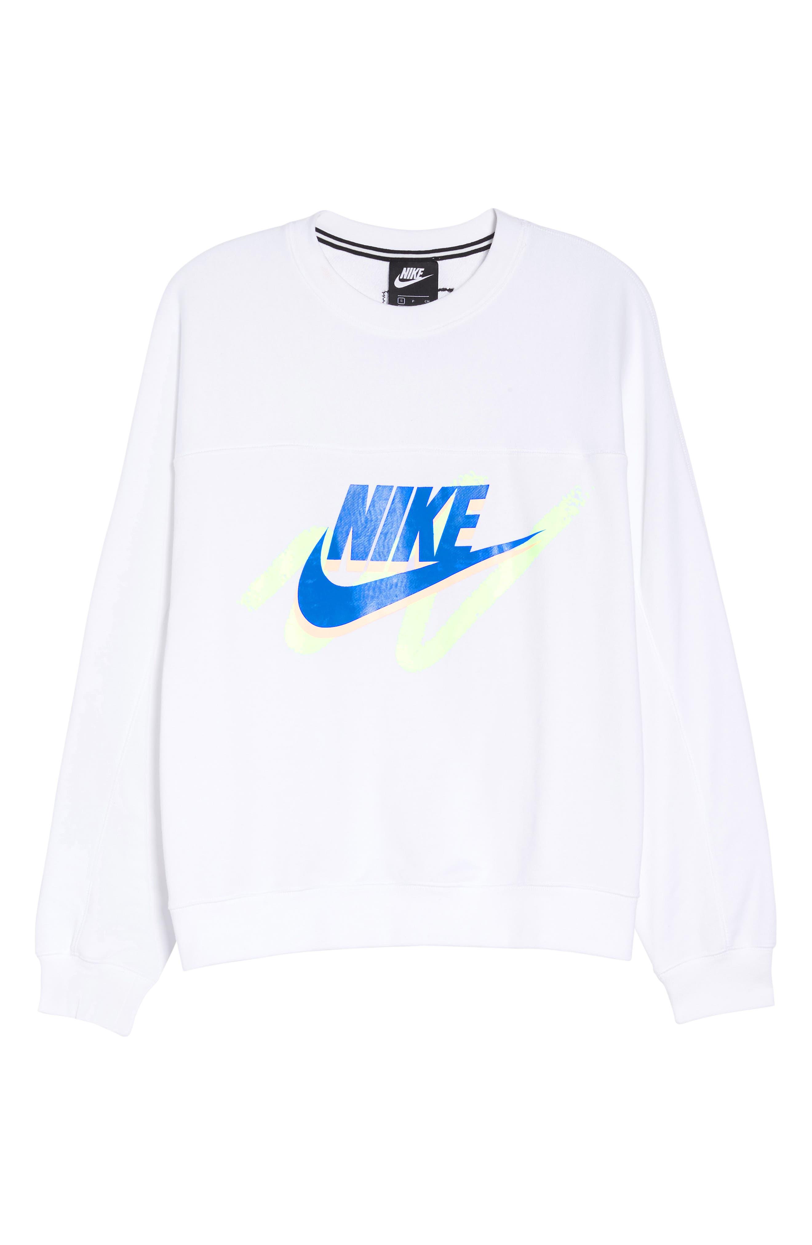 Sportswear Archive Women's Long Sleeve Crewneck Tee,                             Main thumbnail 1, color,                             WHITE/ WHITE/ WHITE