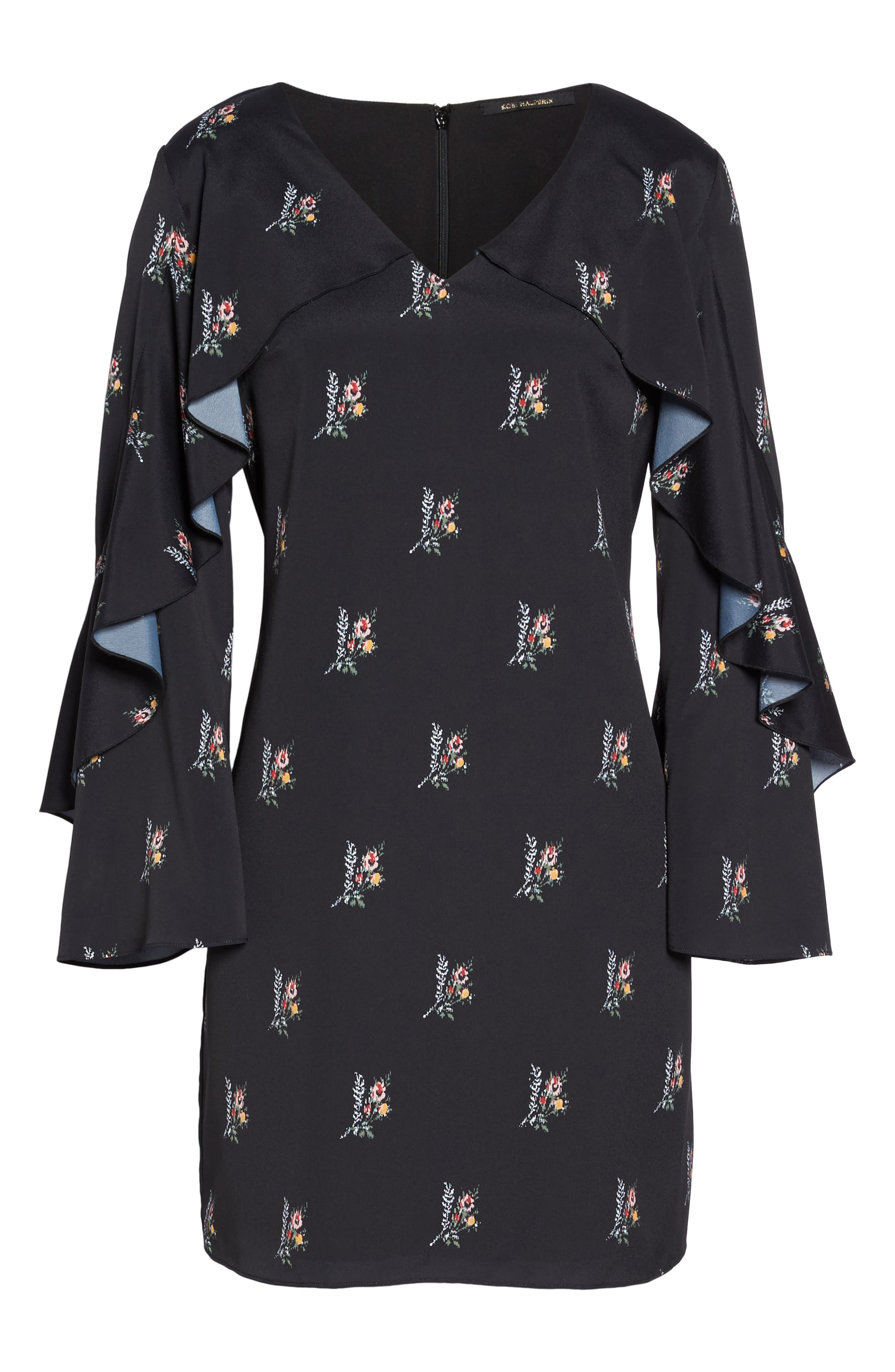 KOBI HALPERIN,                             Olessia Ruffle Shift Dress,                             Alternate thumbnail 7, color,                             002