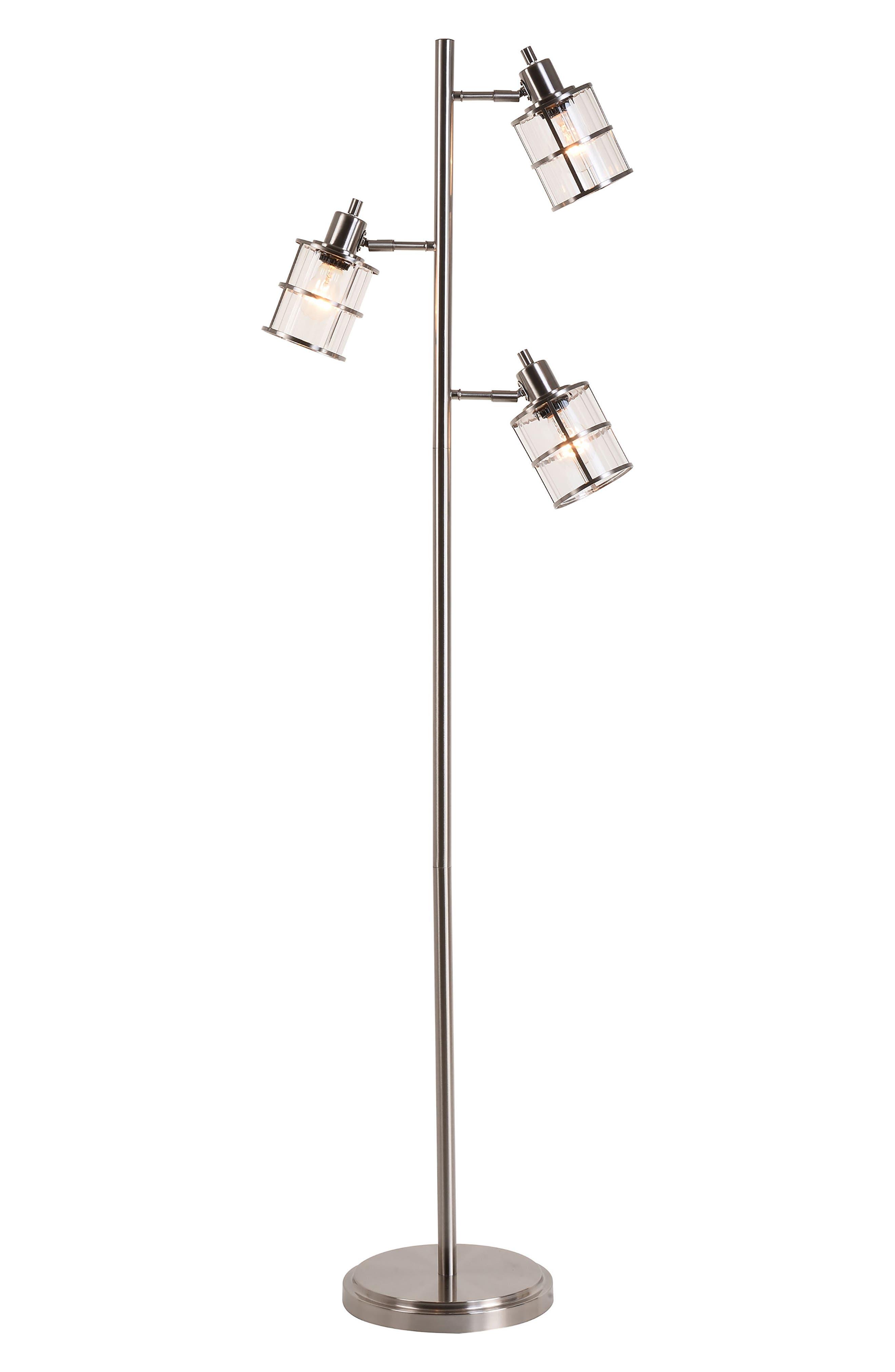 JAlexander Ribbed Glass 3-Head Floor Lamp,                             Main thumbnail 1, color,                             METALLIC SILVER