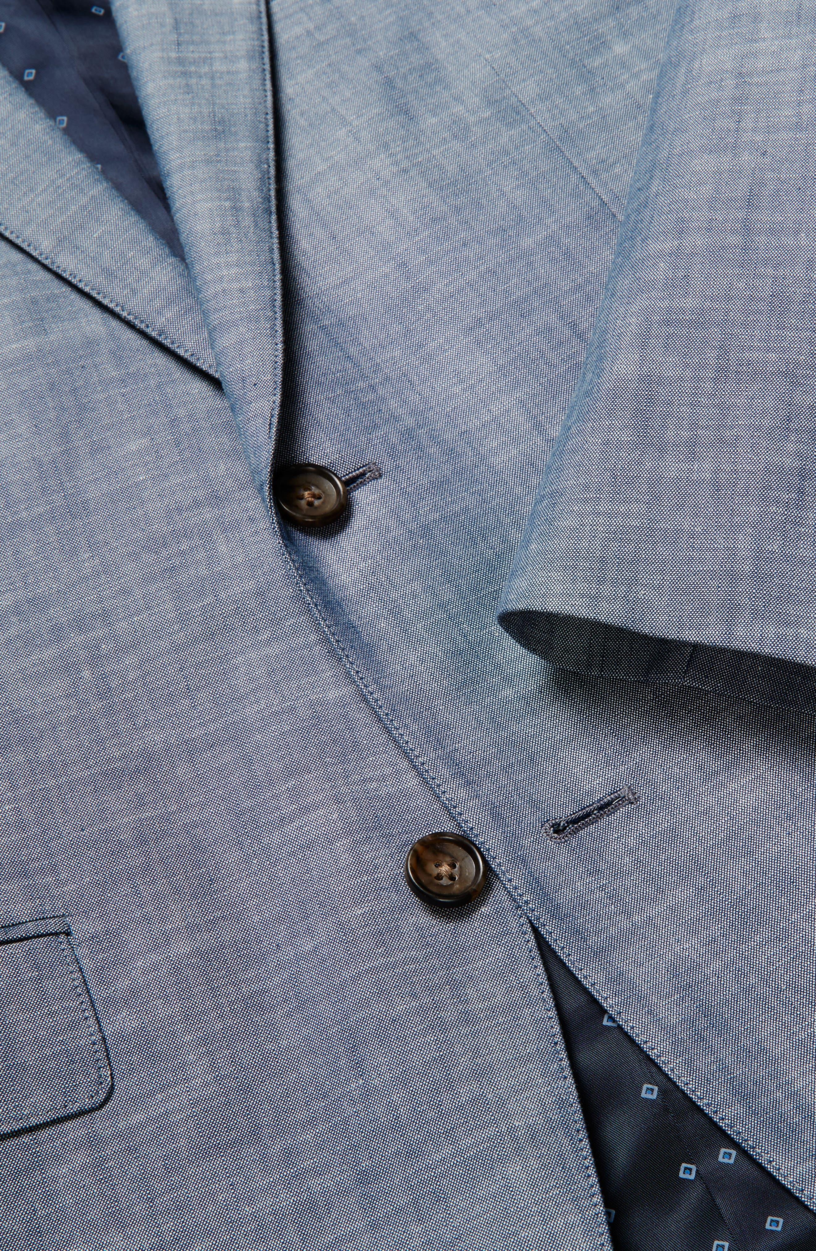 Trim Fit Chambray Cotton Blazer,                             Alternate thumbnail 3, color,                             SOLID BLUE
