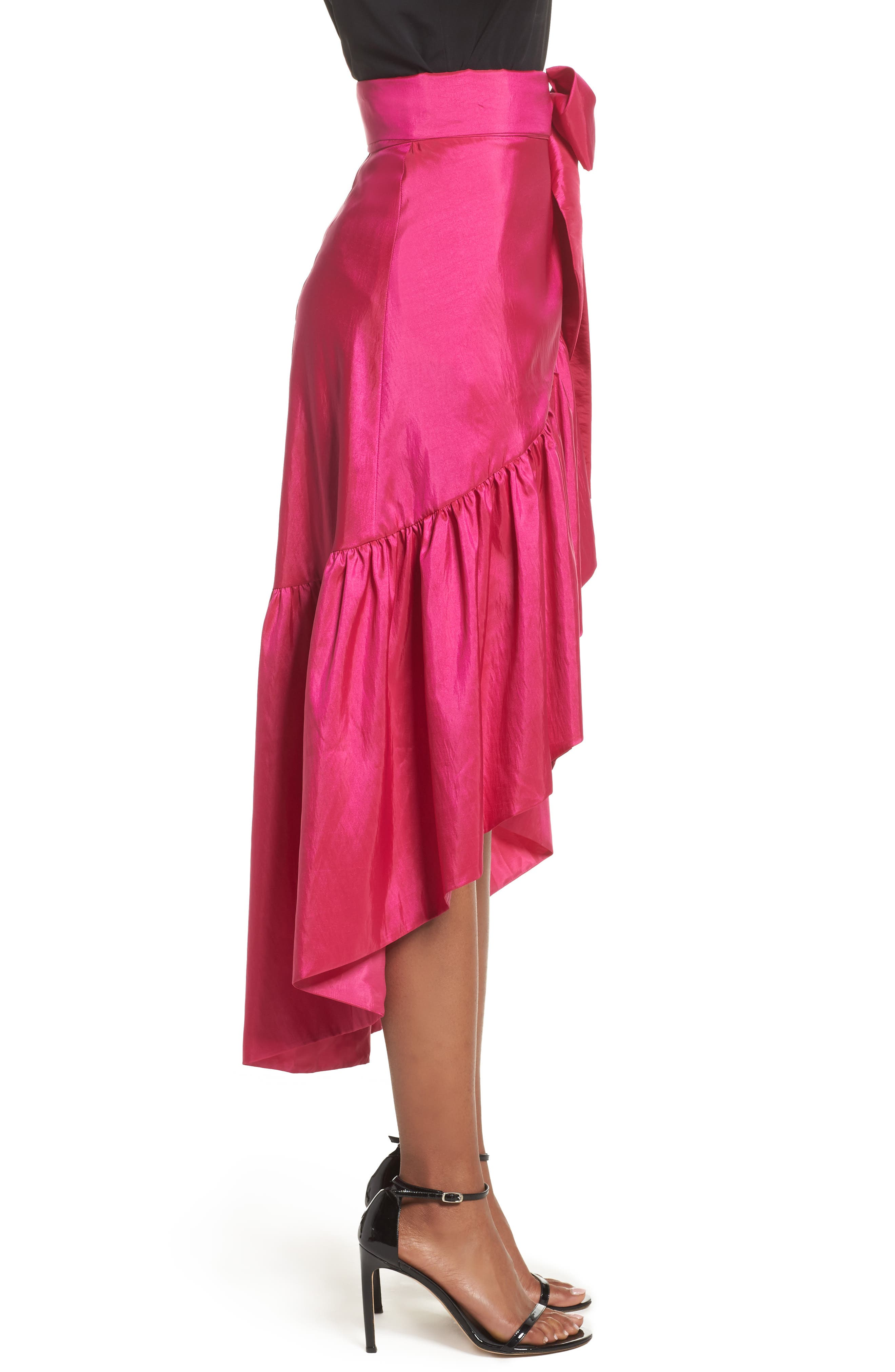 Ruffled Faux Wrap Skirt,                             Alternate thumbnail 3, color,                             678