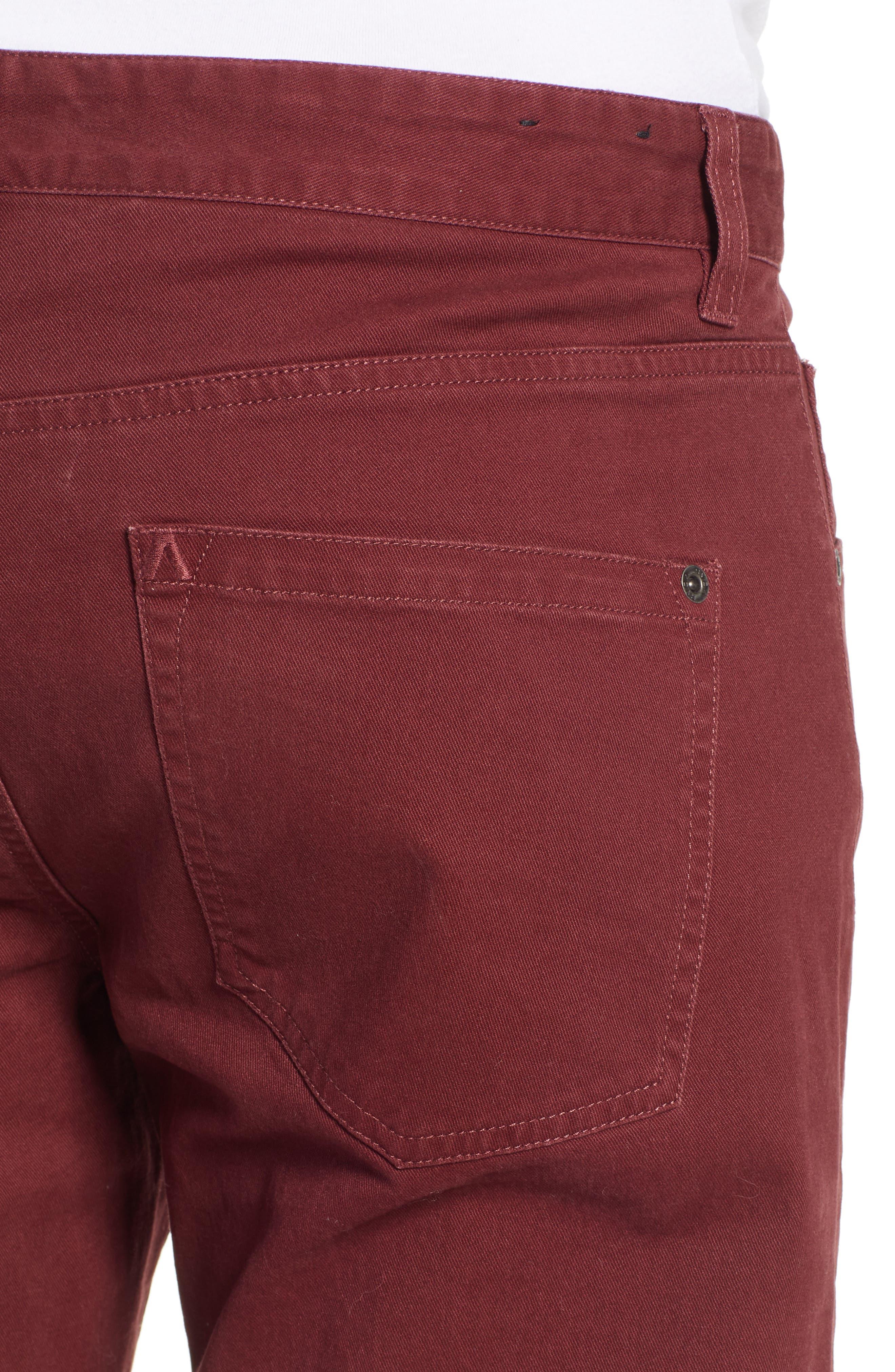 'Daggers' Slim Fit Twill Pants,                             Alternate thumbnail 4, color,                             BORDEAUX
