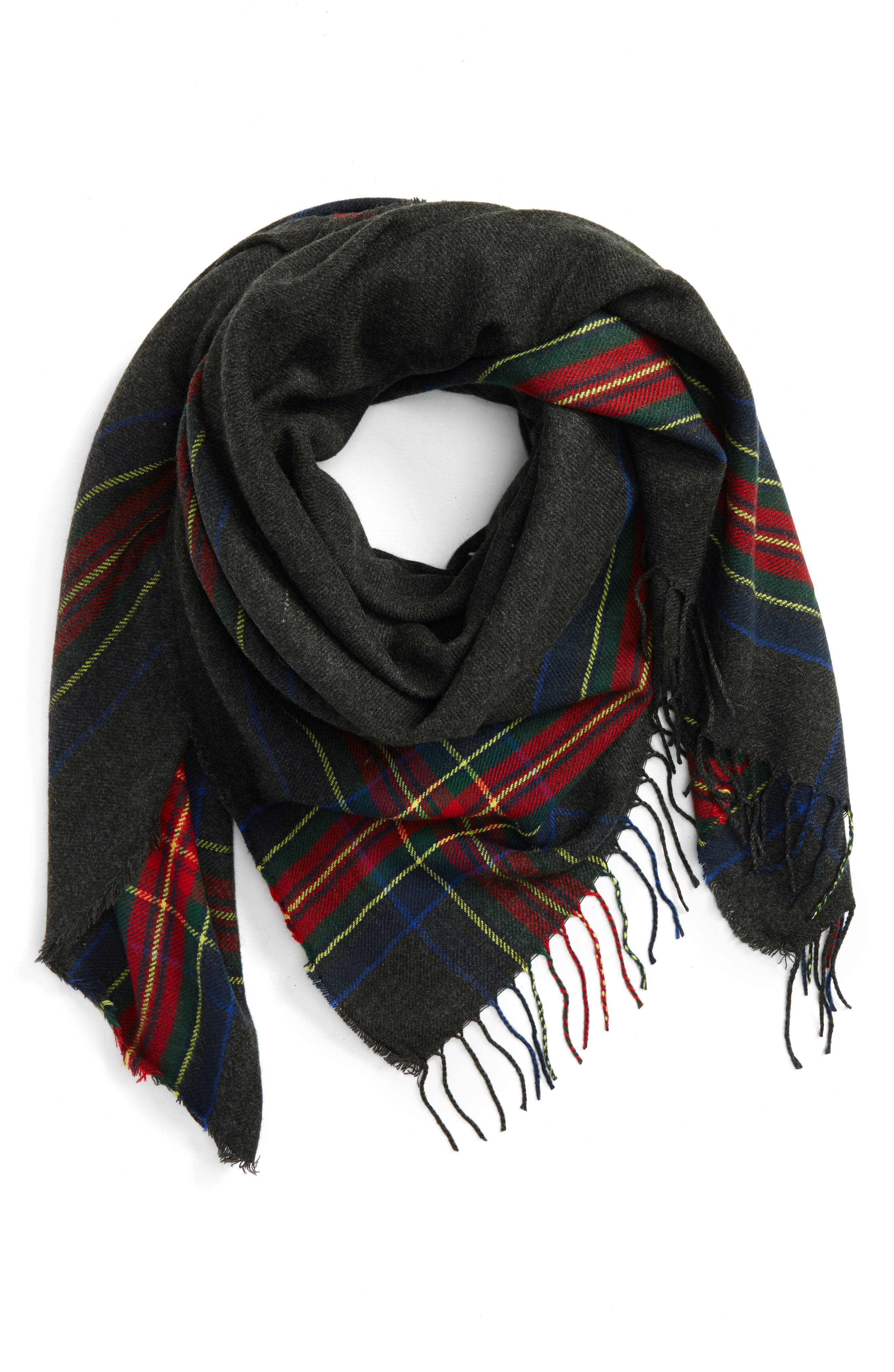 Heritage Plaid Square Scarf, Main, color, 021
