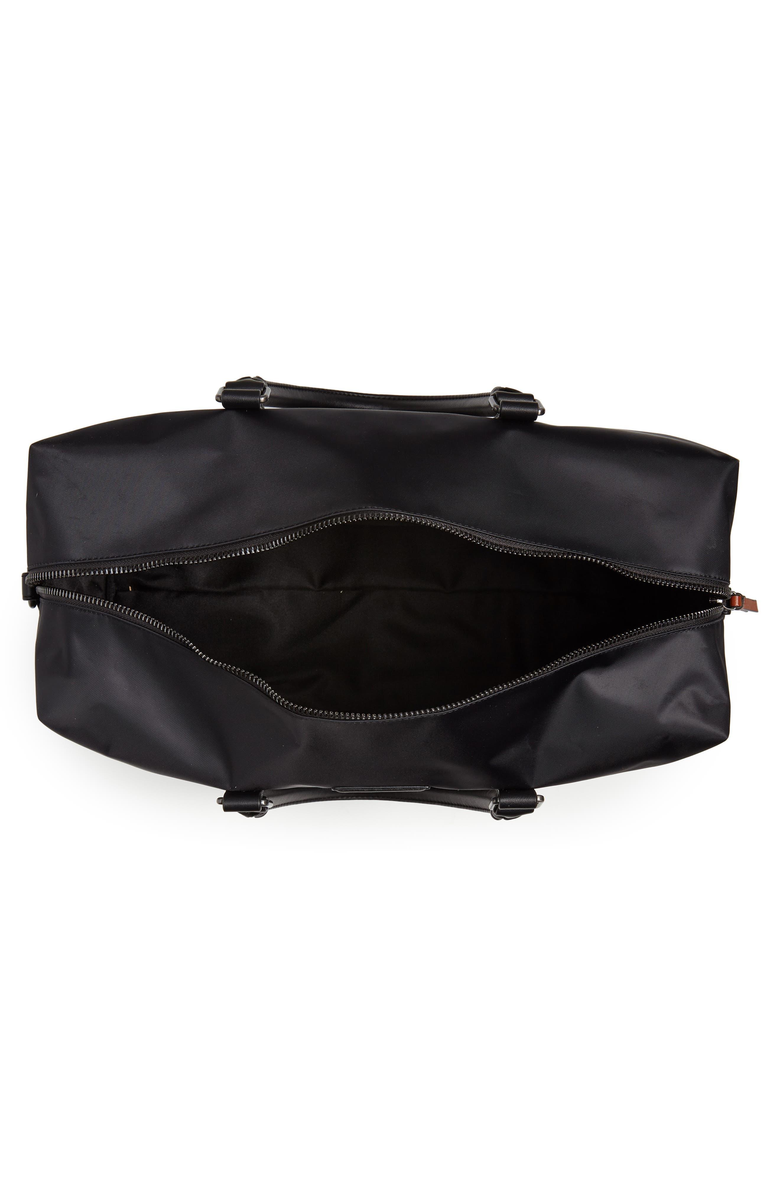 Nylon Duffel Bag,                             Alternate thumbnail 4, color,                             BLACK