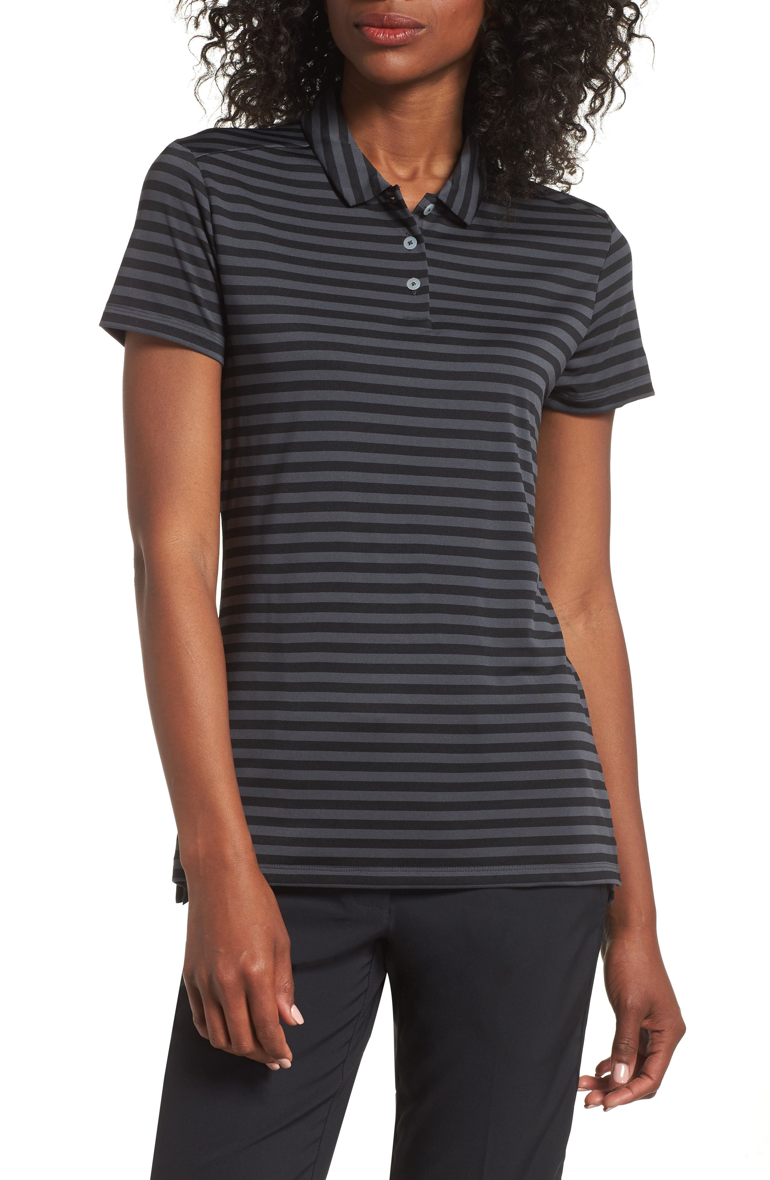 Dry Golf Polo,                         Main,                         color, BLACK/ ANTHRACITE/ SILVER
