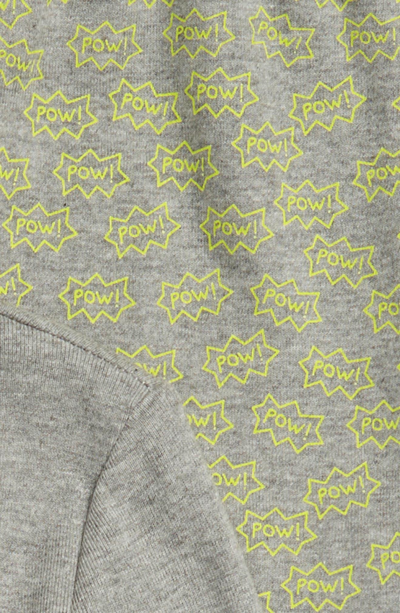 Glow in the Dark Two-Piece Fitted Pajamas,                             Alternate thumbnail 2, color,                             GREY MEDIUM HEATHER SUPERHERO