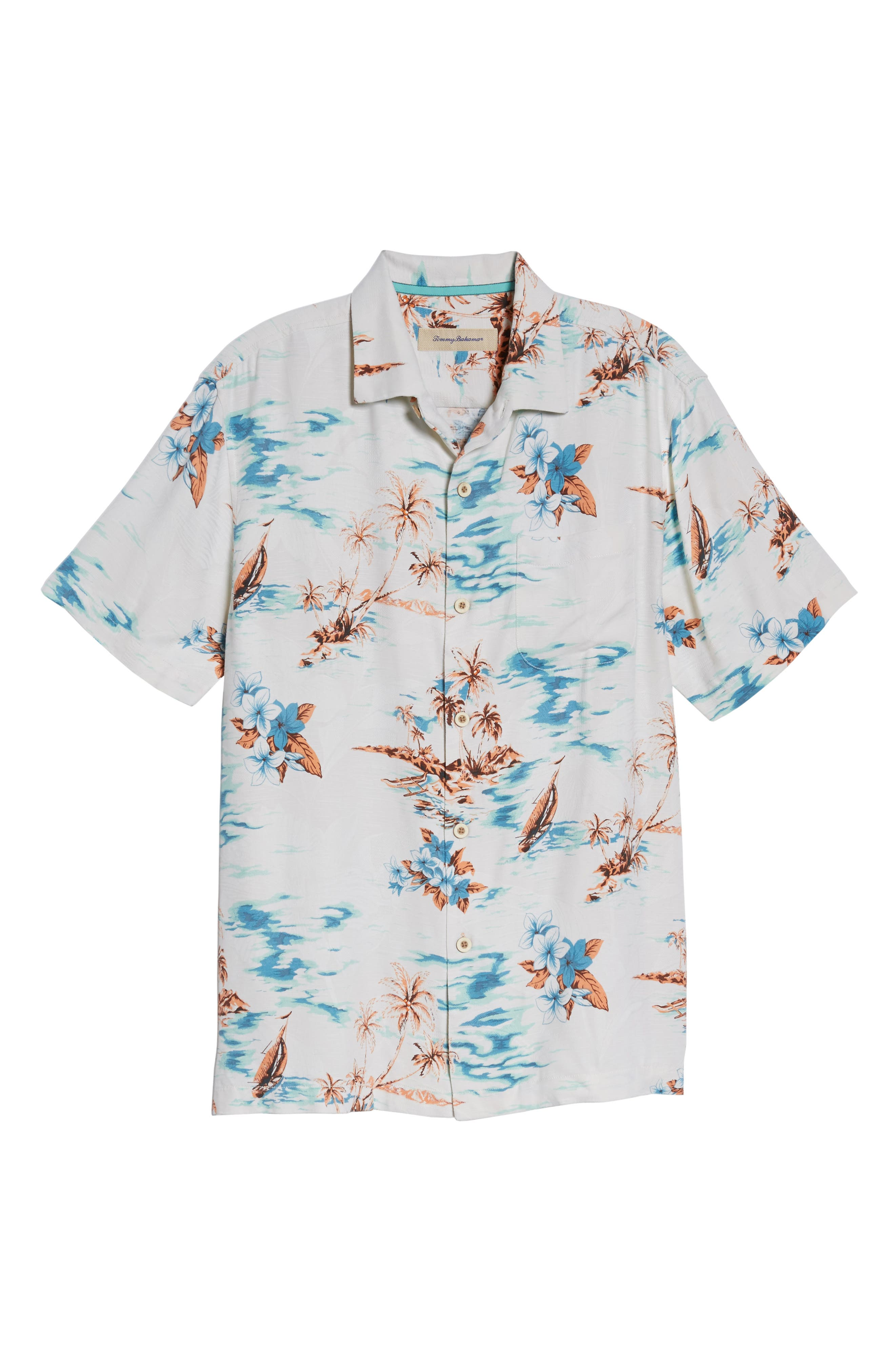 Island Hopping Silk Camp Shirt,                             Alternate thumbnail 6, color,
