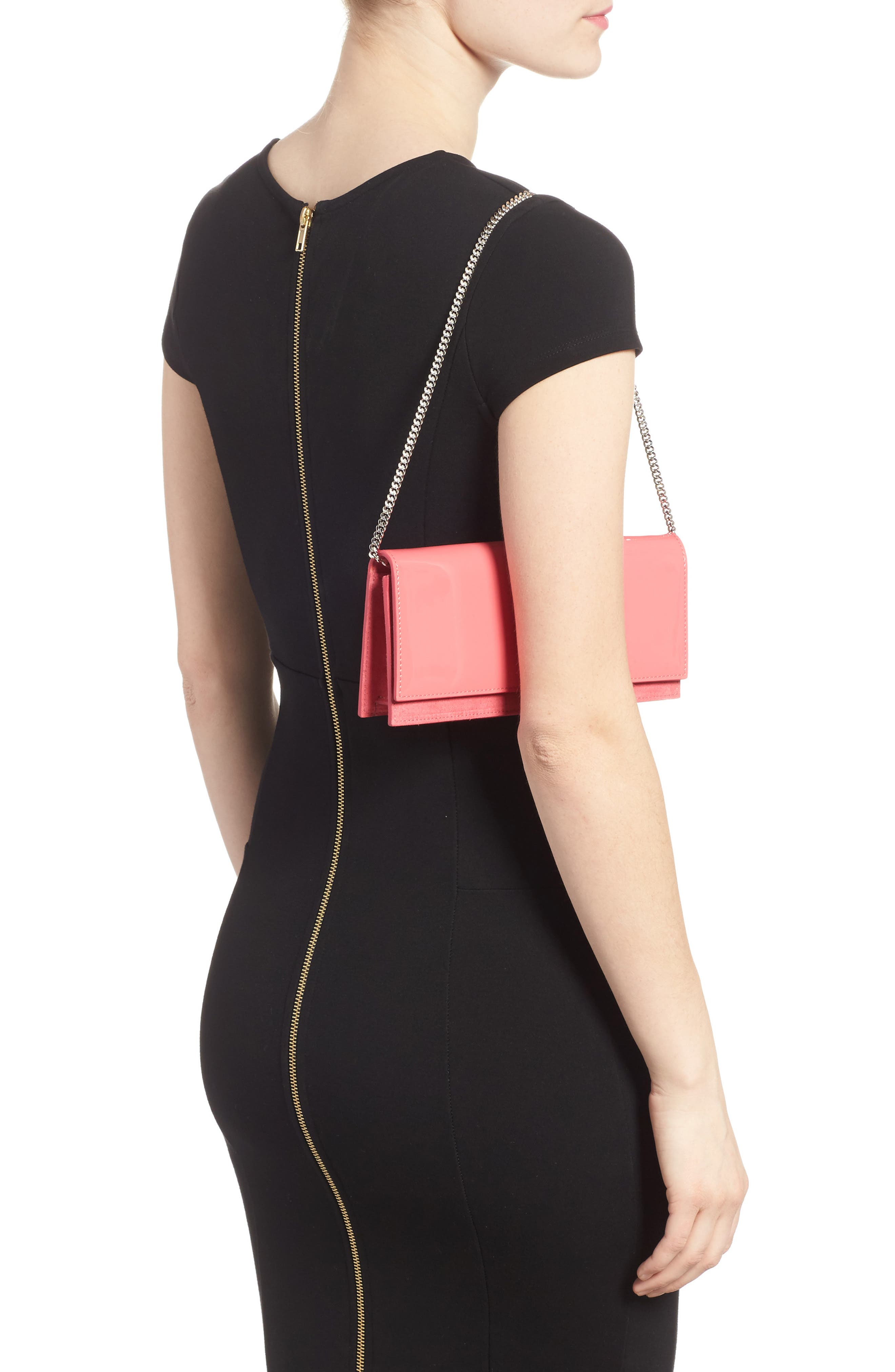 Fie Suede & Patent Leather Clutch,                             Alternate thumbnail 2, color,                             650