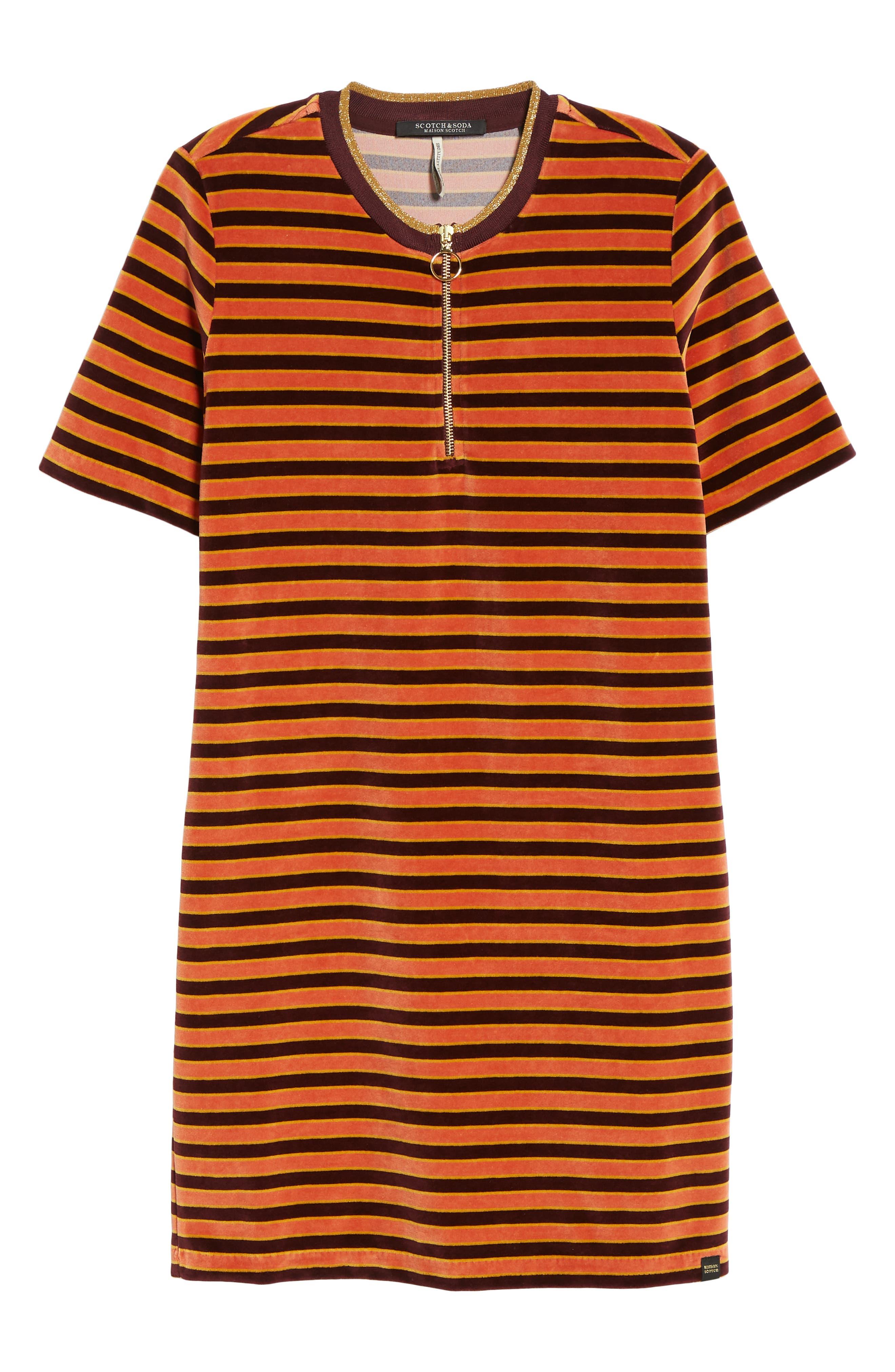 Striped Short Sleeve Velour Dress,                             Alternate thumbnail 7, color,                             ORANGE BURGUNDY STRIPE