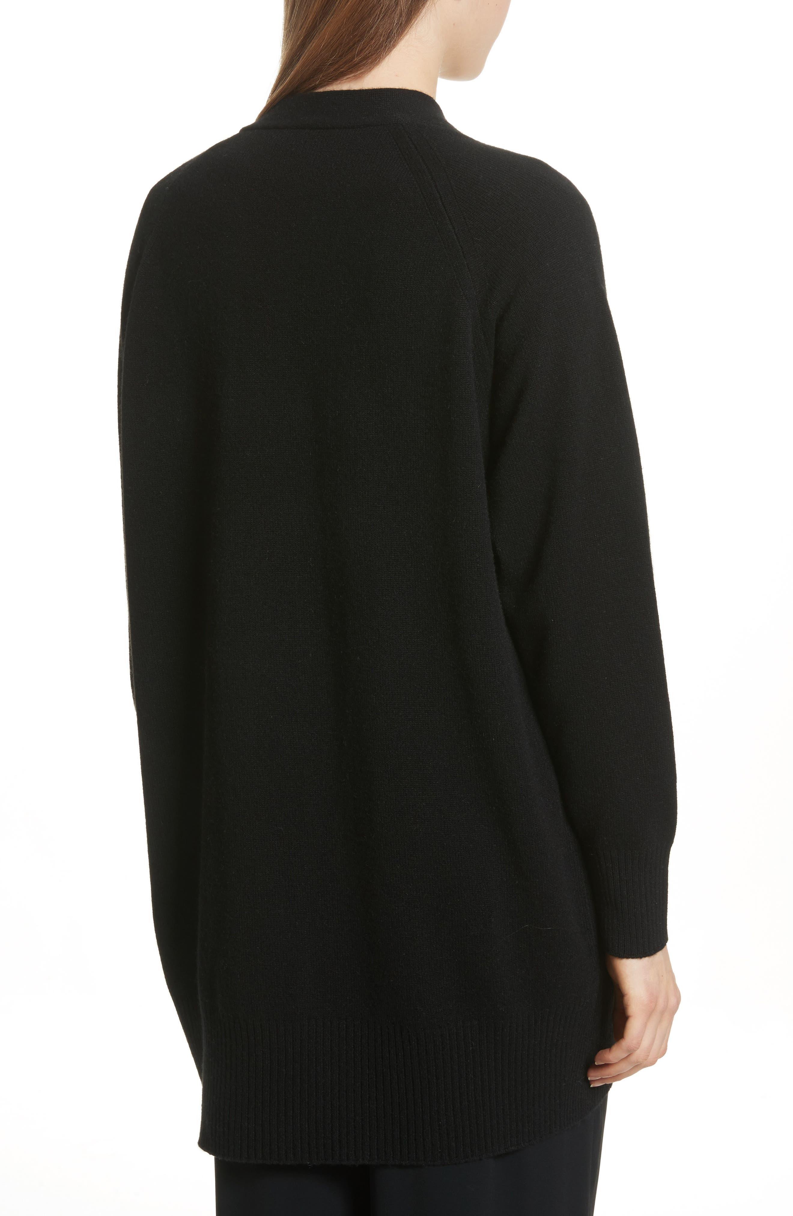 Open Front Cashmere Long Cardigan,                             Alternate thumbnail 2, color,                             BLACK