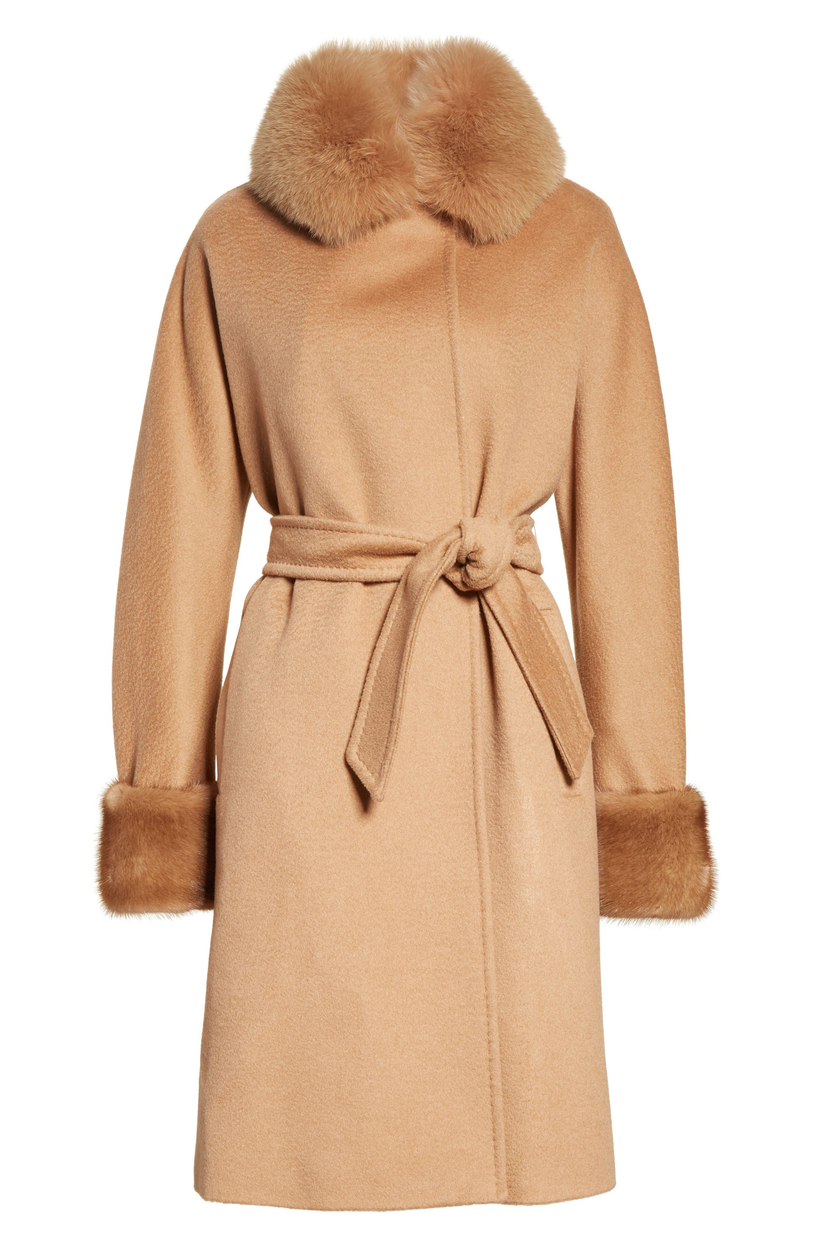 Camel Hair Coat with Genuine Fox Fur & Genuine Mink Fur Trim,                             Alternate thumbnail 5, color,                             232