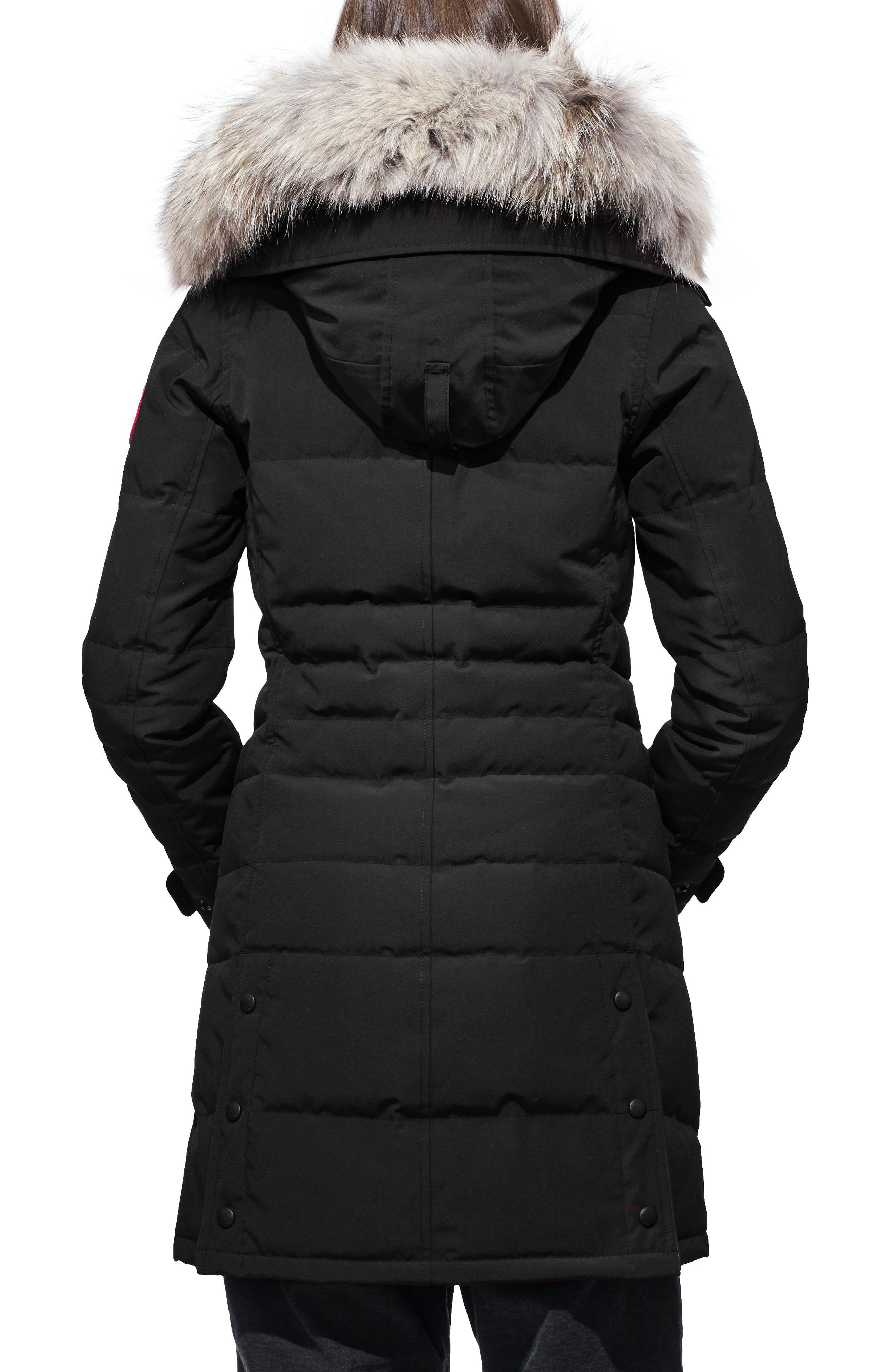 Lorette Fusion Fit Hooded Down Parka with Genuine Coyote Fur Trim,                             Alternate thumbnail 2, color,                             001