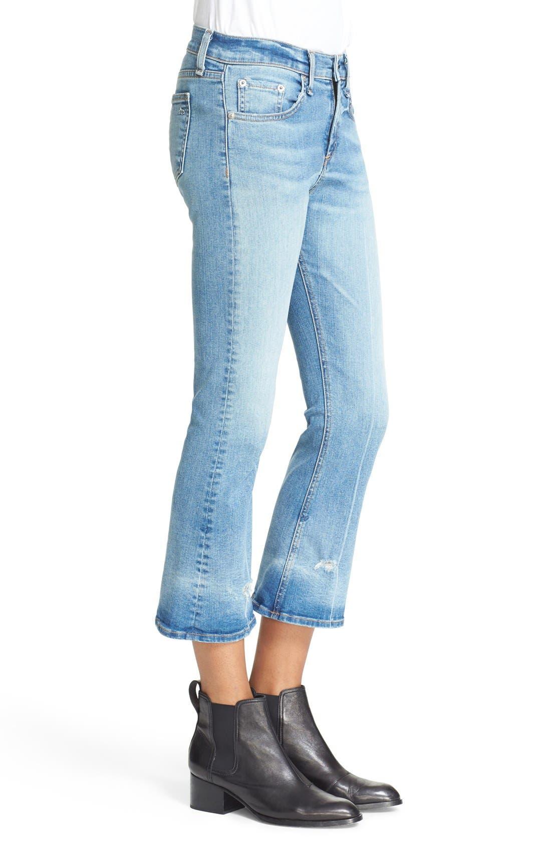 RAG & BONE,                             JEAN Distressed Crop Flare Jeans,                             Alternate thumbnail 5, color,                             451