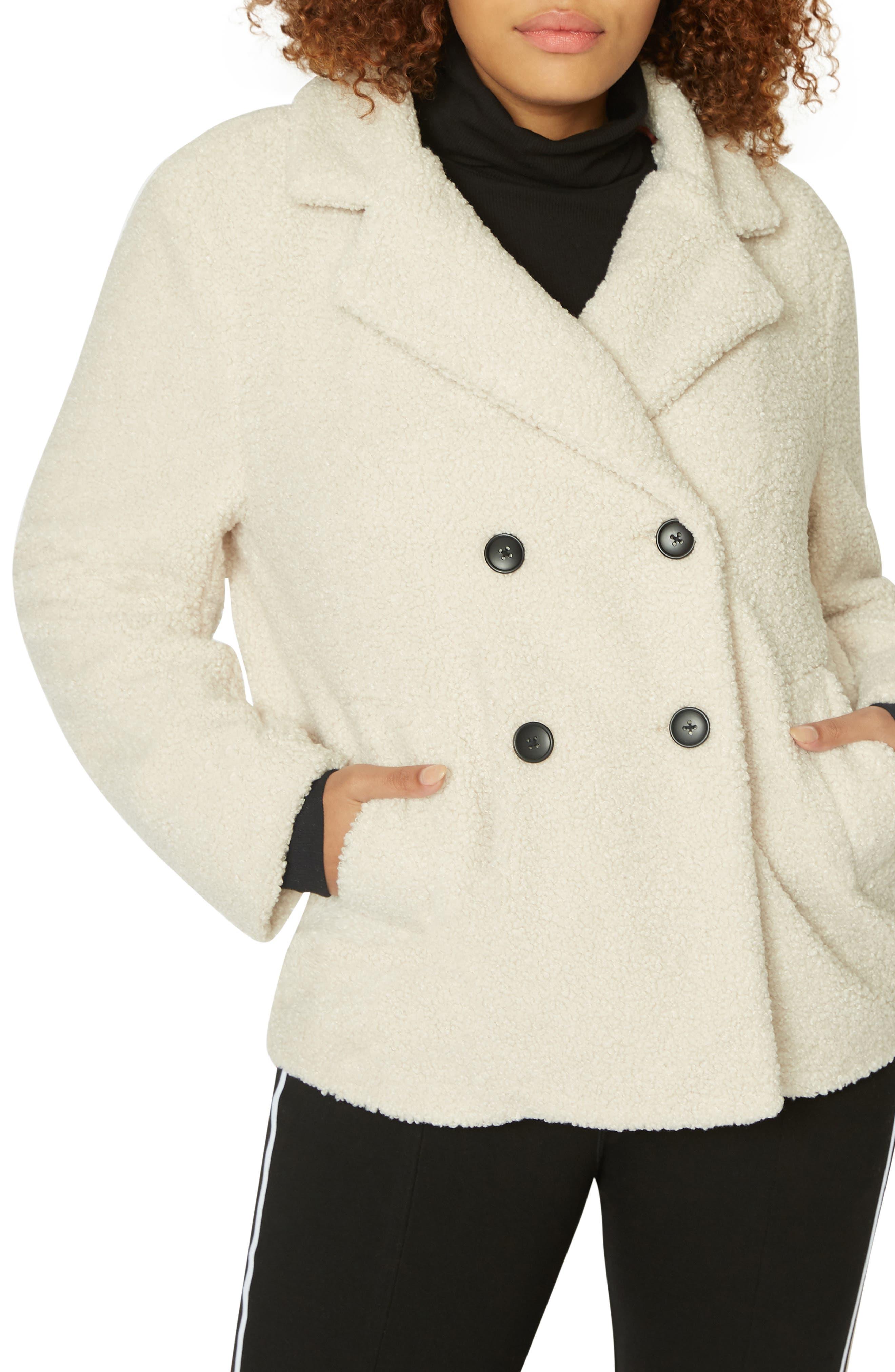 SANCTUARY Free Spirit Faux Shearling Coat in Salt