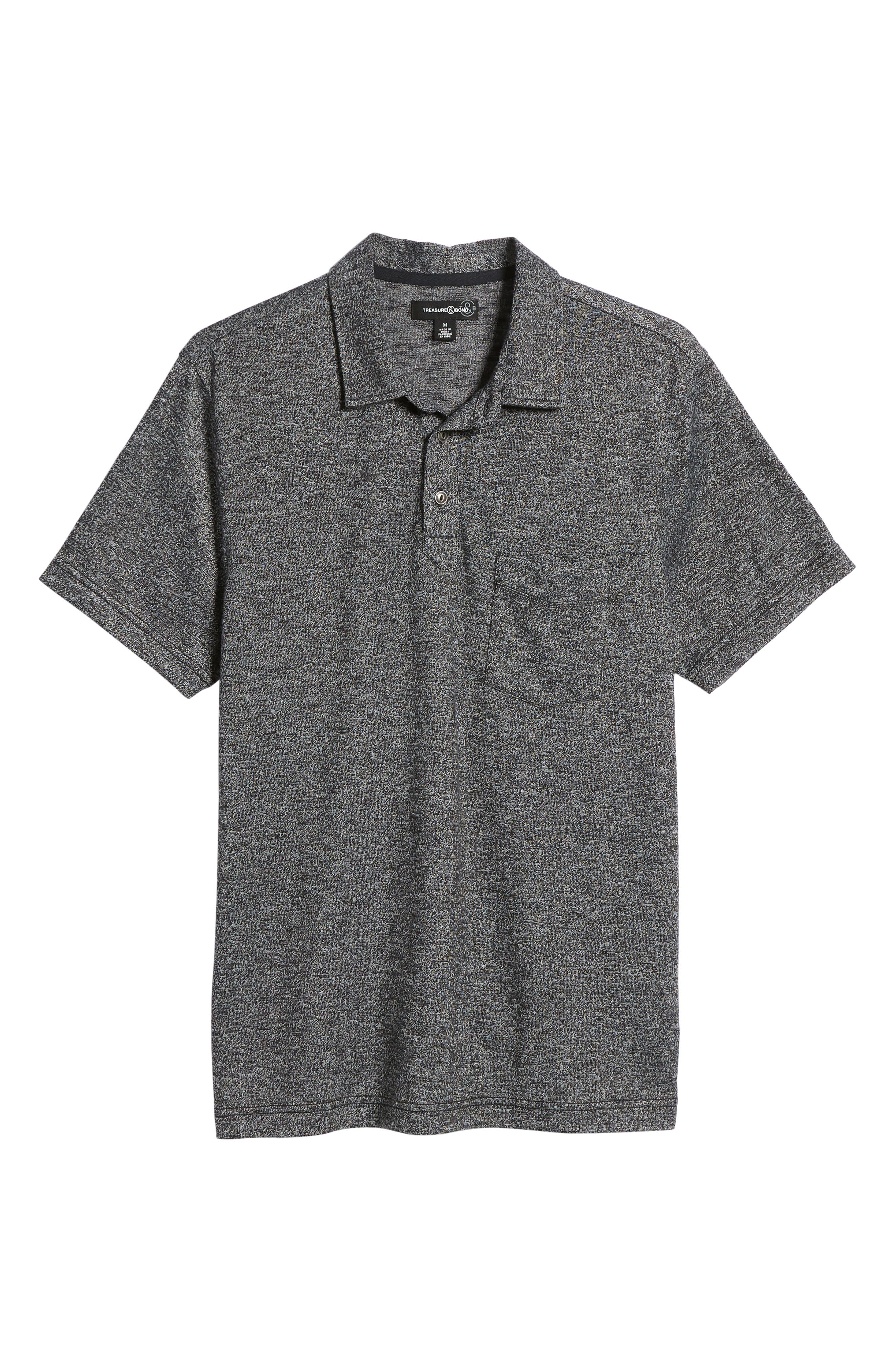 Marled Knit Polo,                             Alternate thumbnail 6, color,                             001