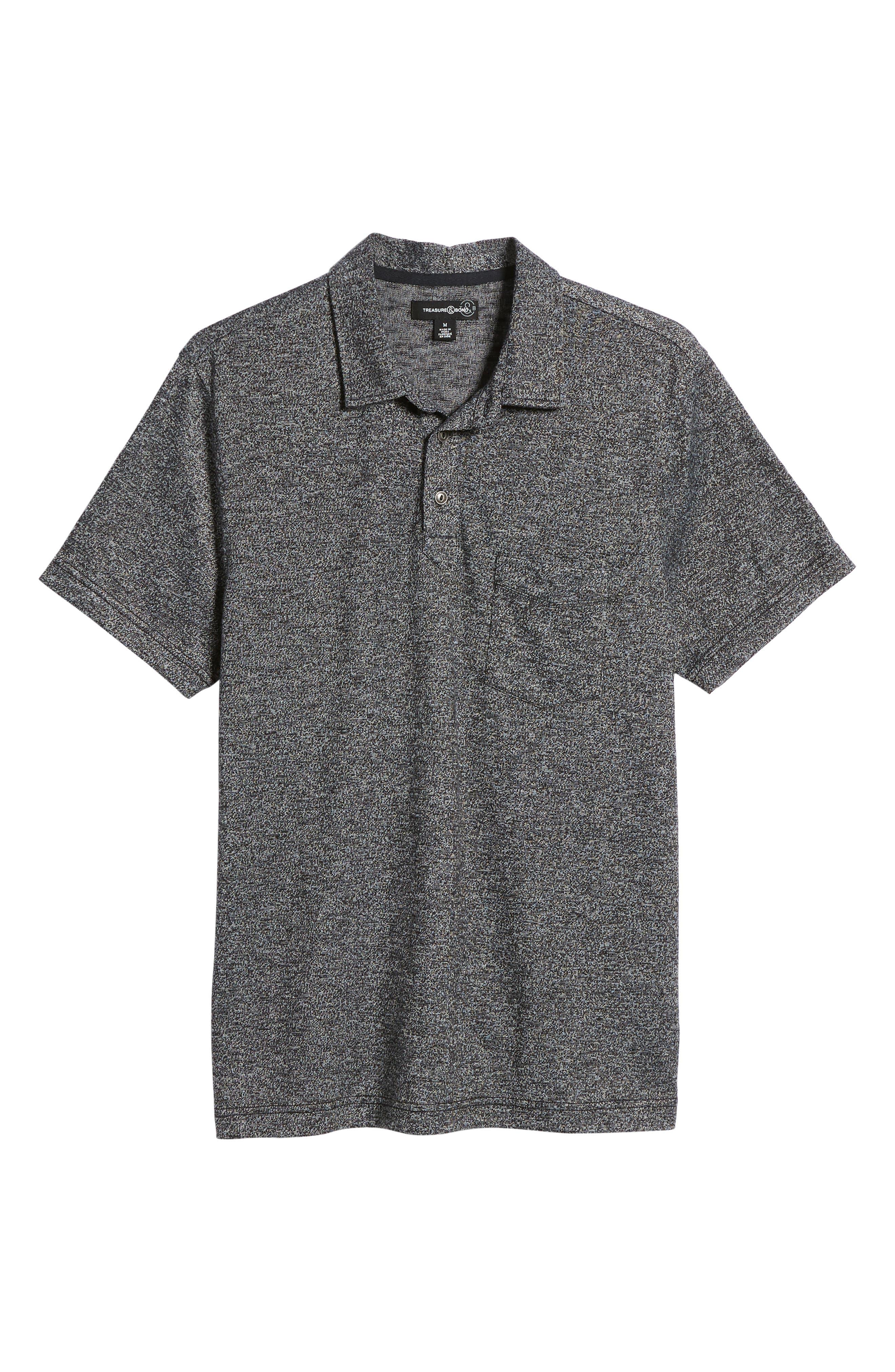TREASURE & BOND,                             Marled Knit Polo,                             Alternate thumbnail 6, color,                             001