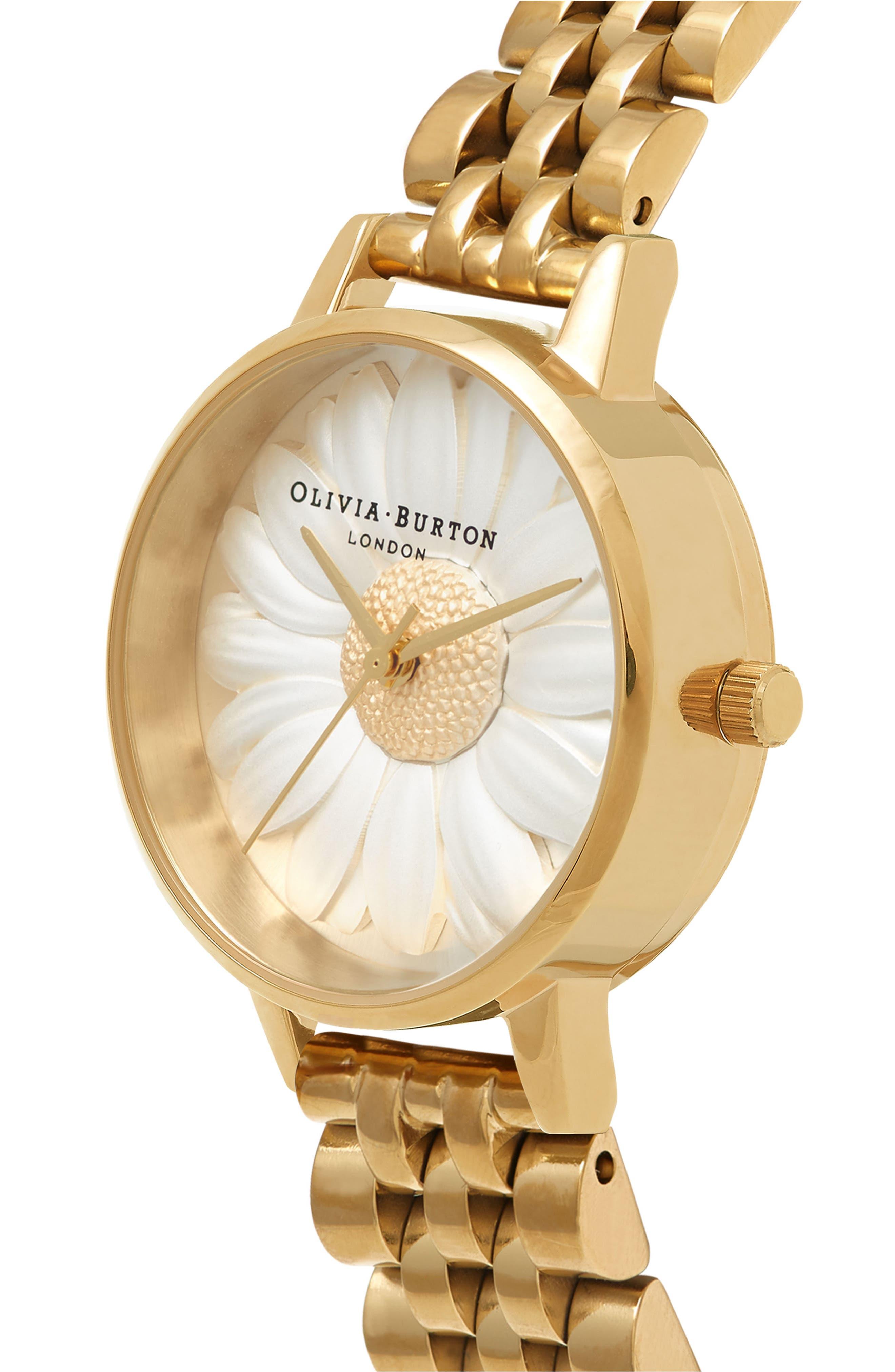 3D Daisy Bracelet Watch, 30mm,                             Alternate thumbnail 3, color,                             GOLD/ IVORY/ GOLD