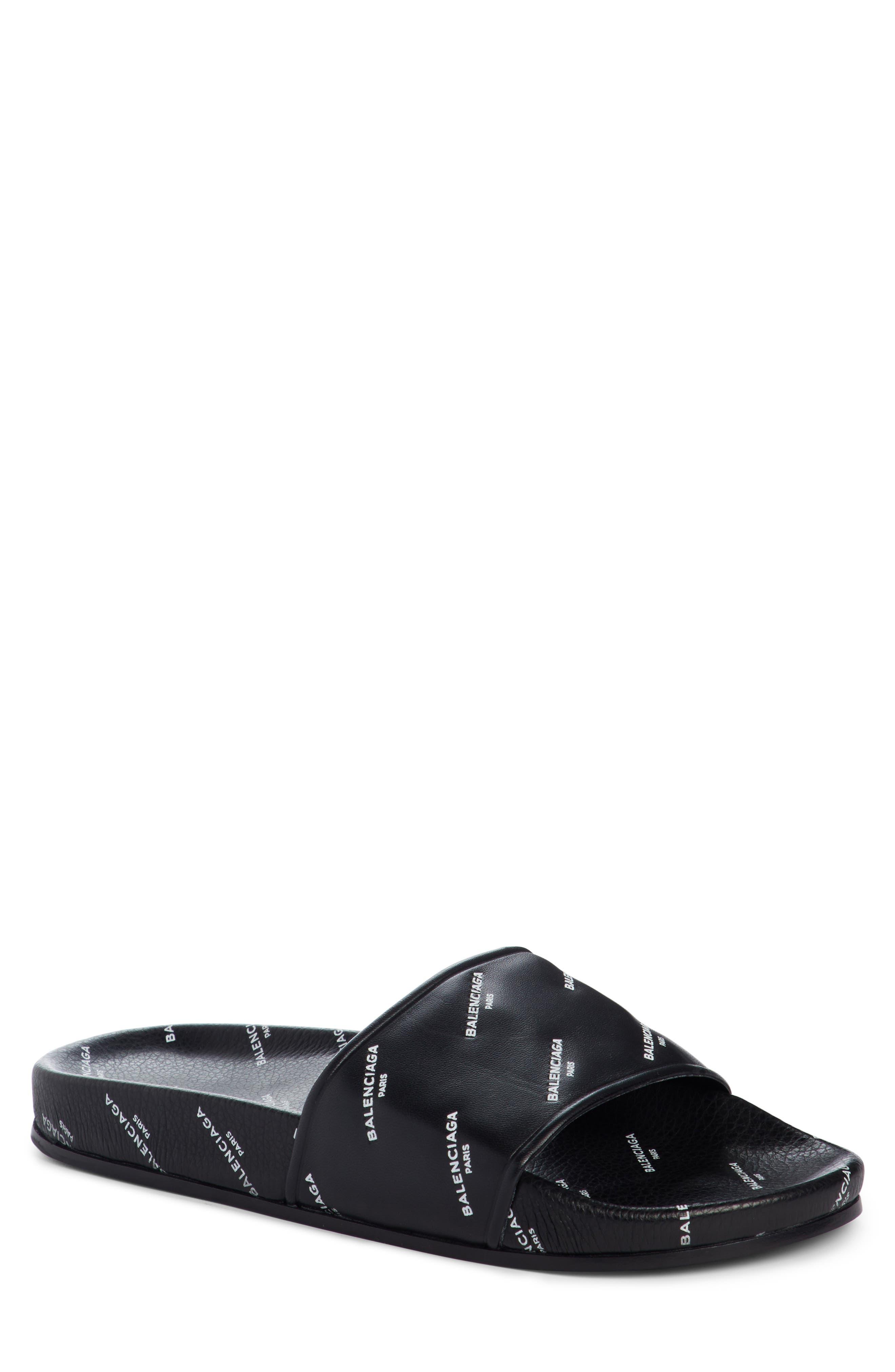 Logo Print Slide Sandal,                         Main,                         color, BLACK