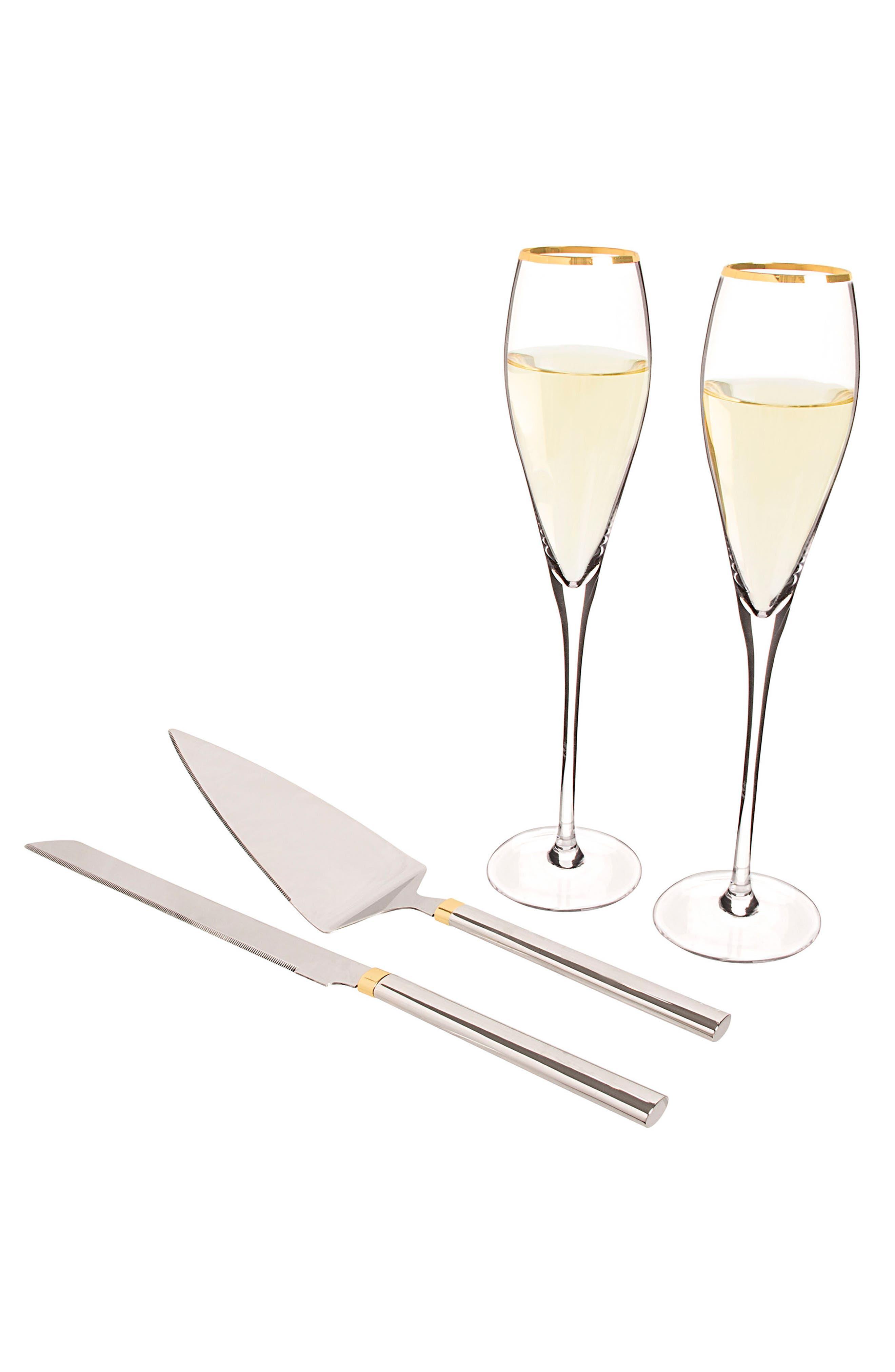Monogram Champagne Flutes & Cake Server Set,                             Main thumbnail 1, color,                             710
