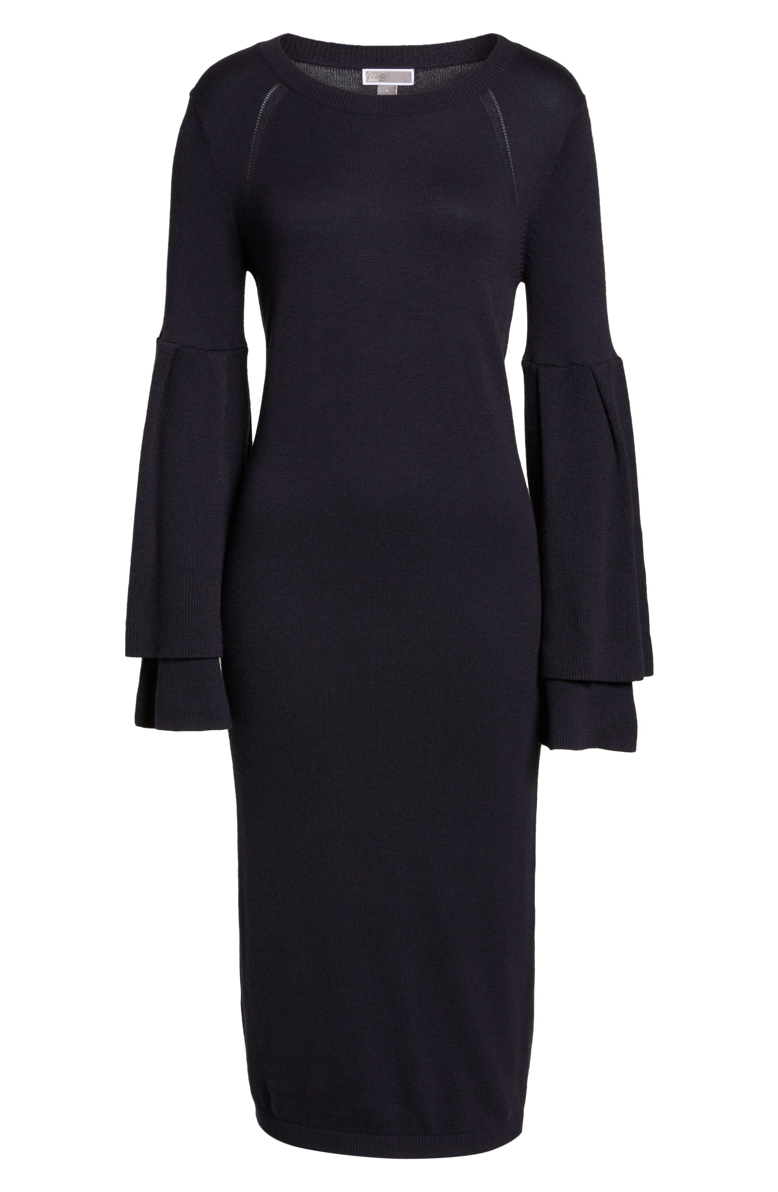 Bell Sleeve Sweater Dress,                             Alternate thumbnail 6, color,                             400