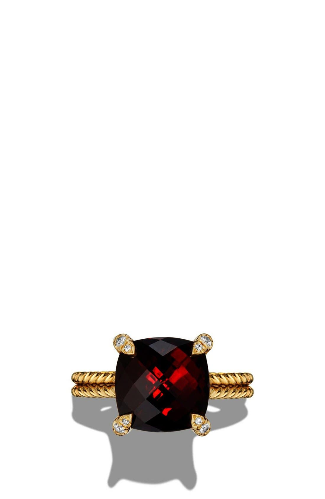Châtelaine Ring with Hampton Blue Topaz and Diamonds in 18K Gold,                             Alternate thumbnail 4, color,                             GARNET