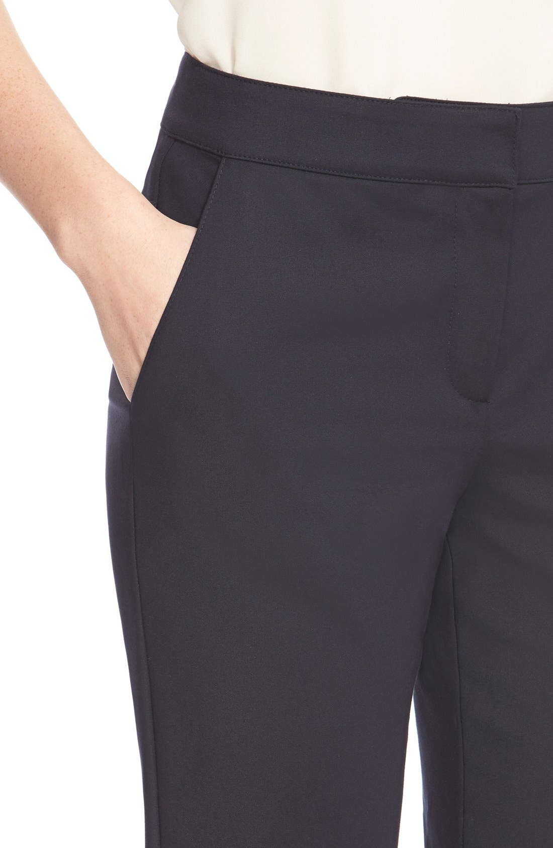 'Emma' Crop Micro Ottoman Pants,                             Alternate thumbnail 6, color,                             NAVY