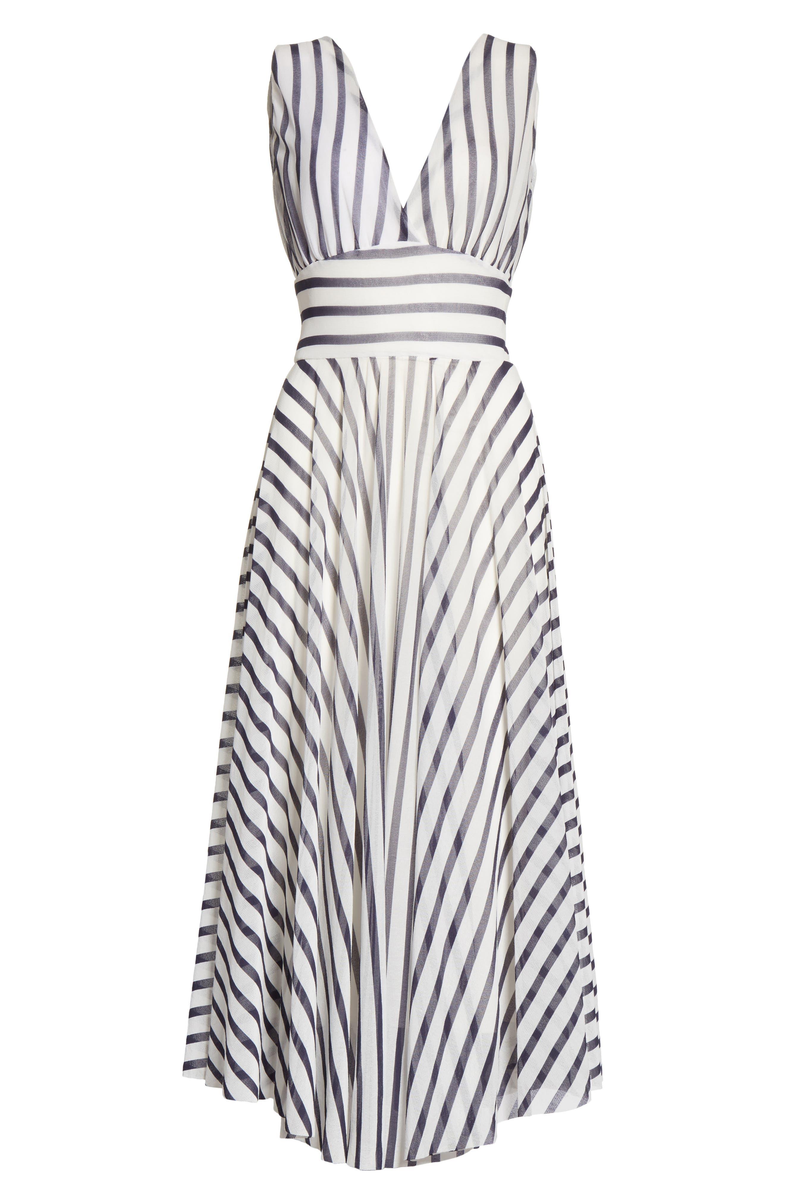 Multistripe Midi Dress,                             Alternate thumbnail 6, color,                             110