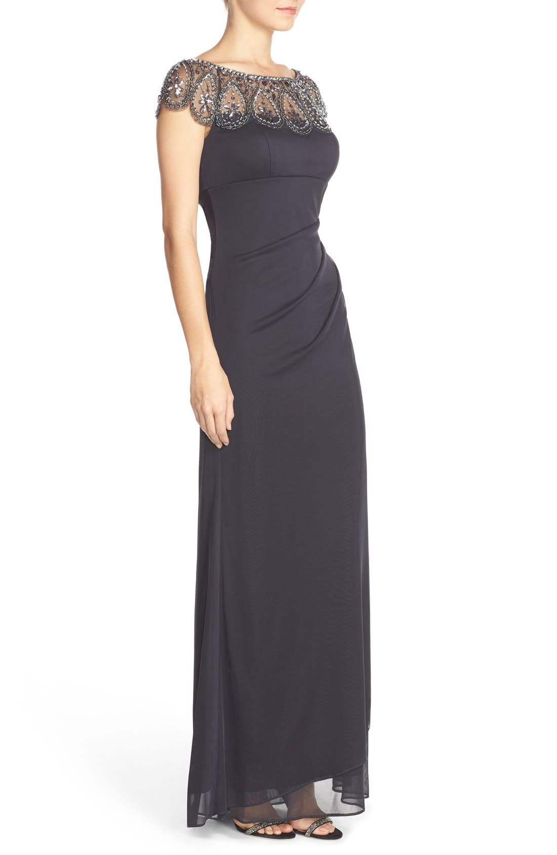 Ruched Jersey Gown,                             Alternate thumbnail 3, color,                             020