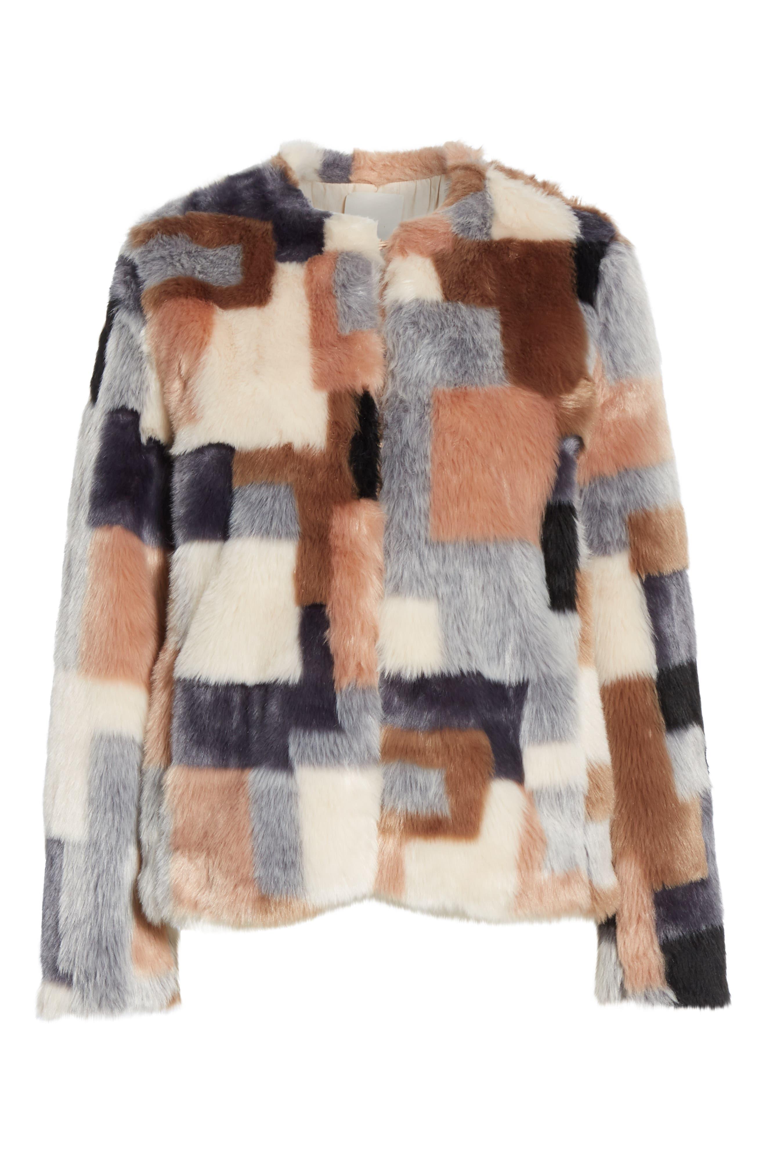 LA VIE REBECCA TAYLOR,                             Patched Faux Fur Jacket,                             Alternate thumbnail 5, color,                             400