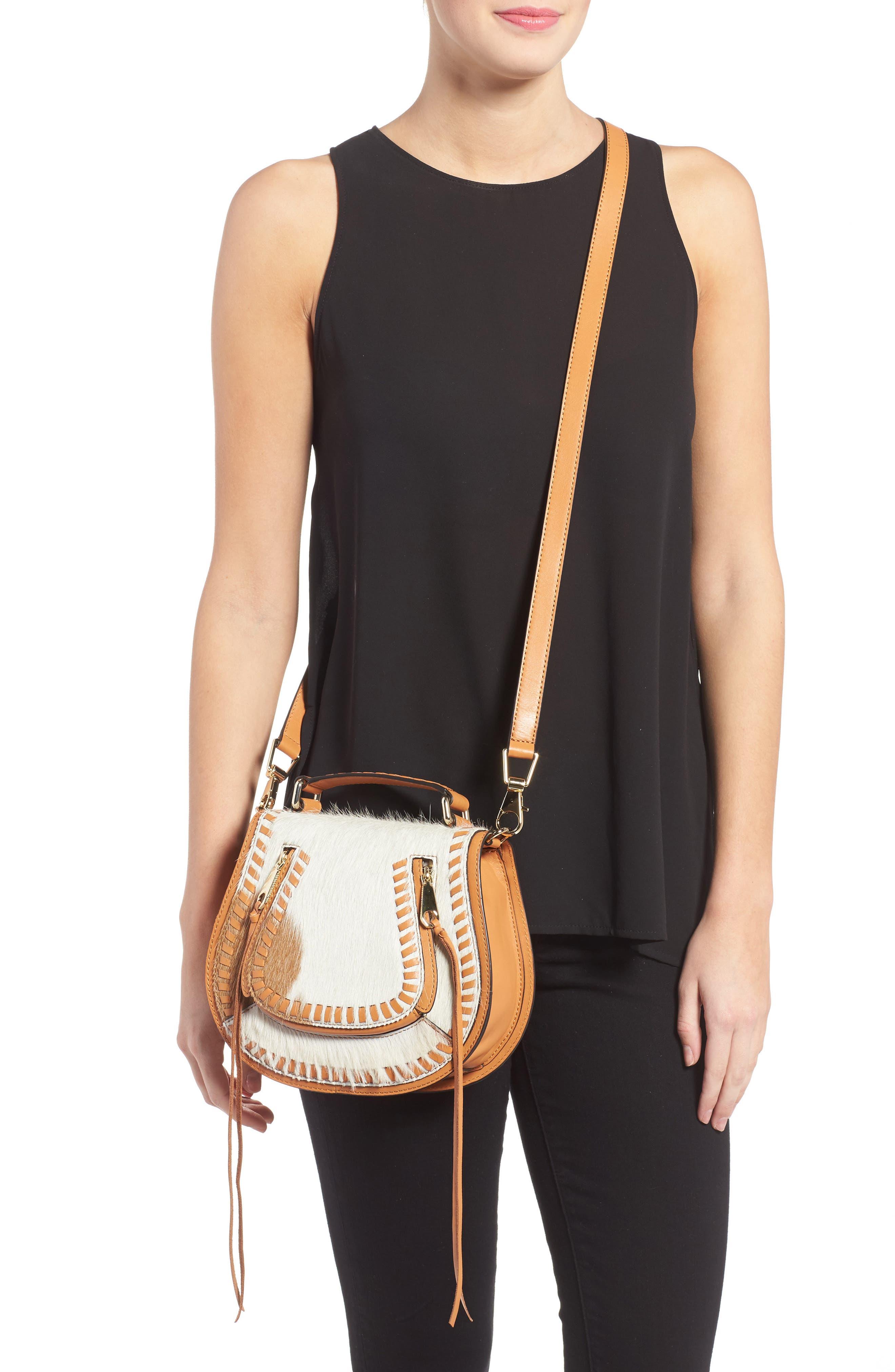Small Vanity Genuine Calf Hair Saddle Bag,                             Alternate thumbnail 2, color,                             200