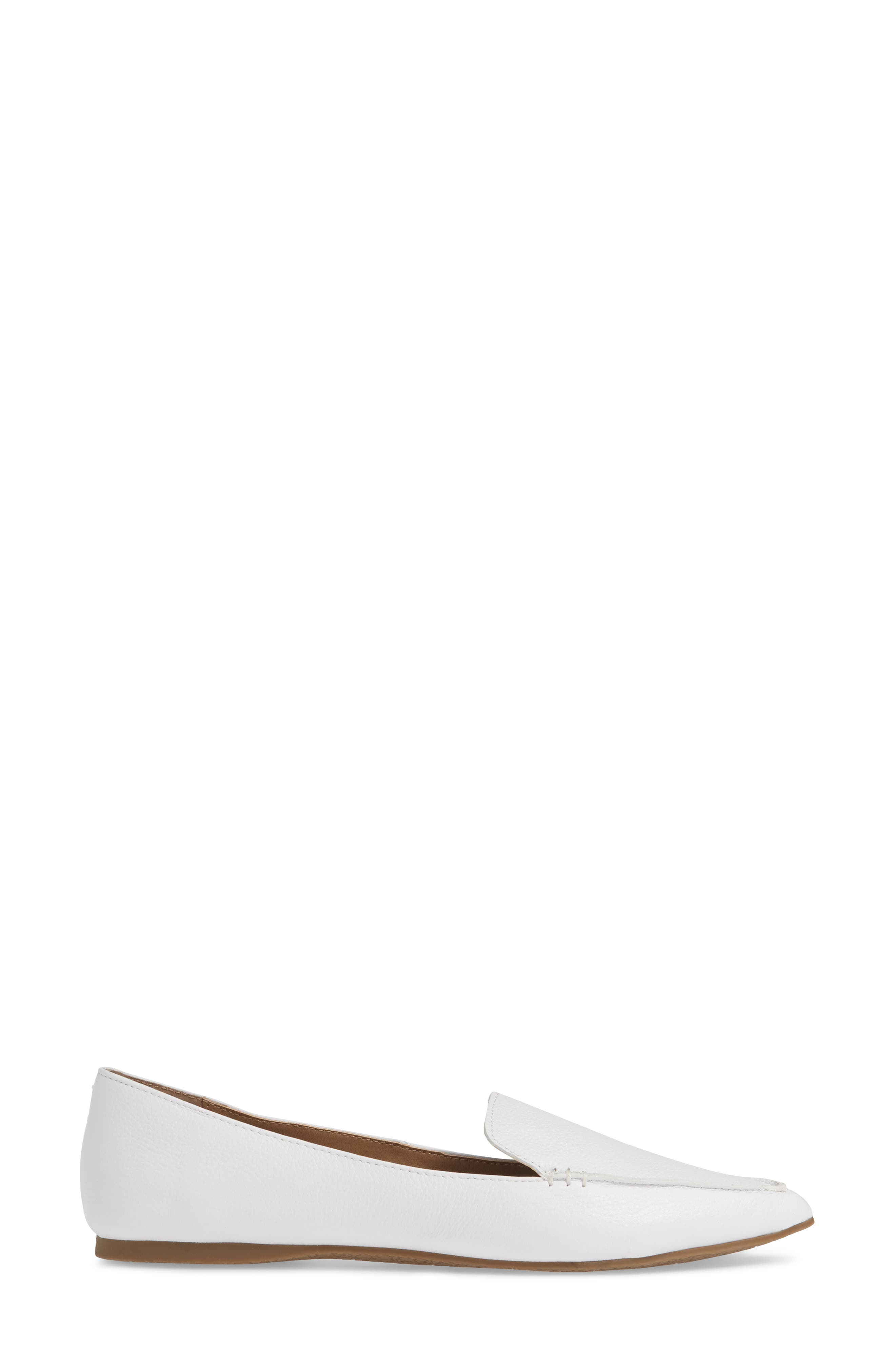 STEVE MADDEN,                             Feather Loafer Flat,                             Alternate thumbnail 3, color,                             WHITE LEATHER