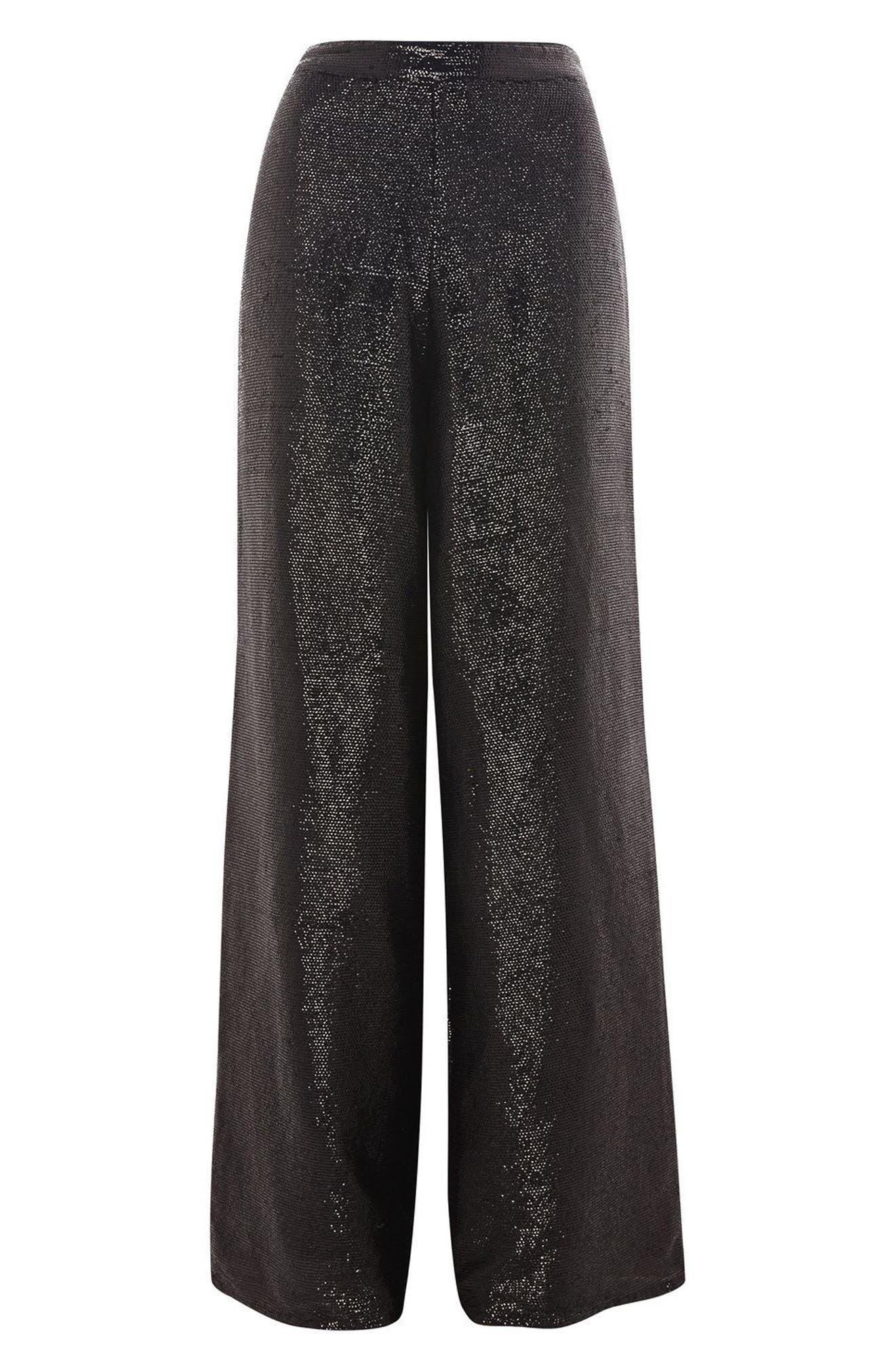 Premium Sequin Wide Leg Trousers,                             Alternate thumbnail 3, color,                             001