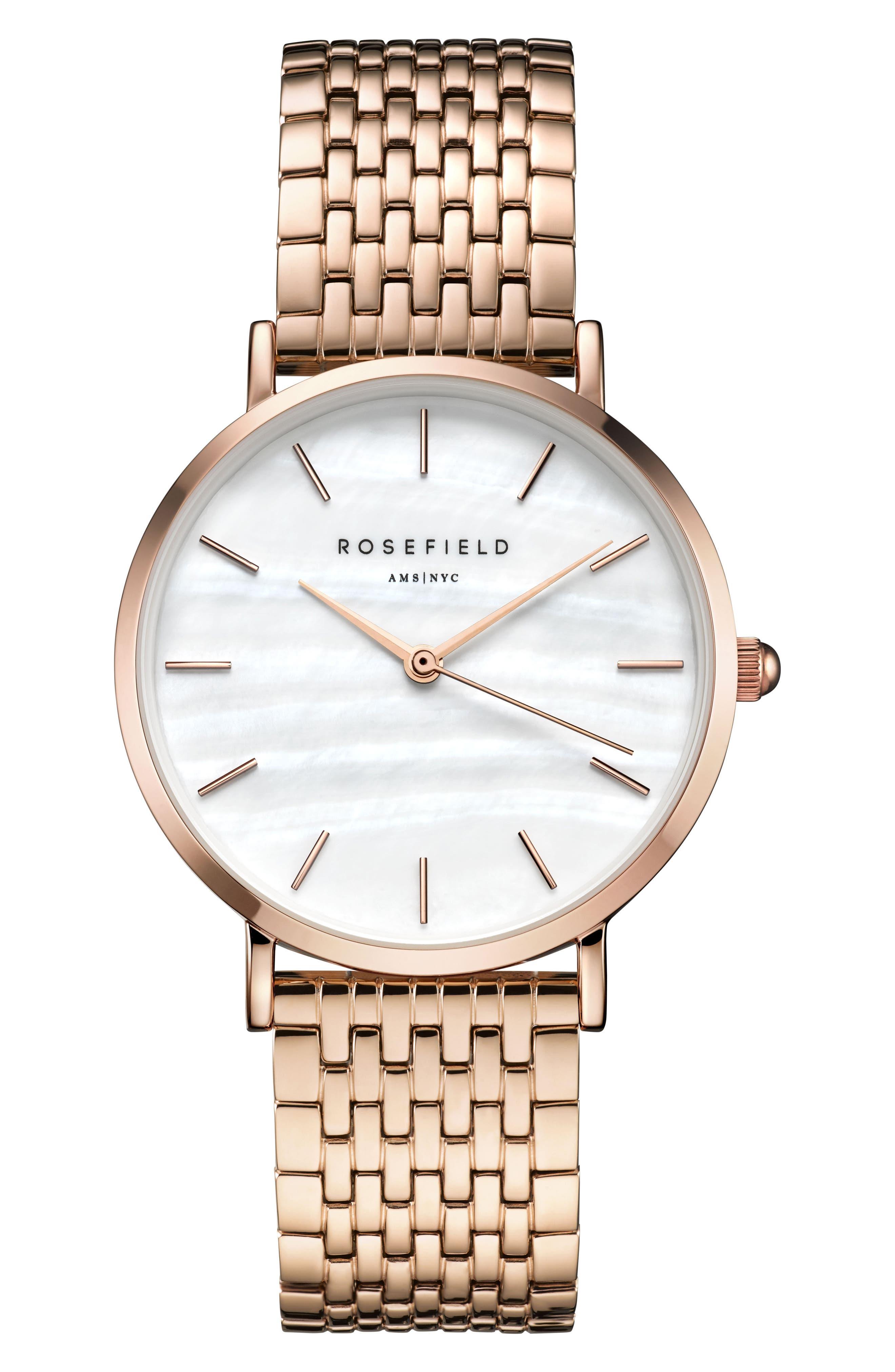 Upper East Side Bracelet Watch, 33mm,                             Main thumbnail 1, color,                             ROSE GOLD/ WHITE/ ROSE GOLD