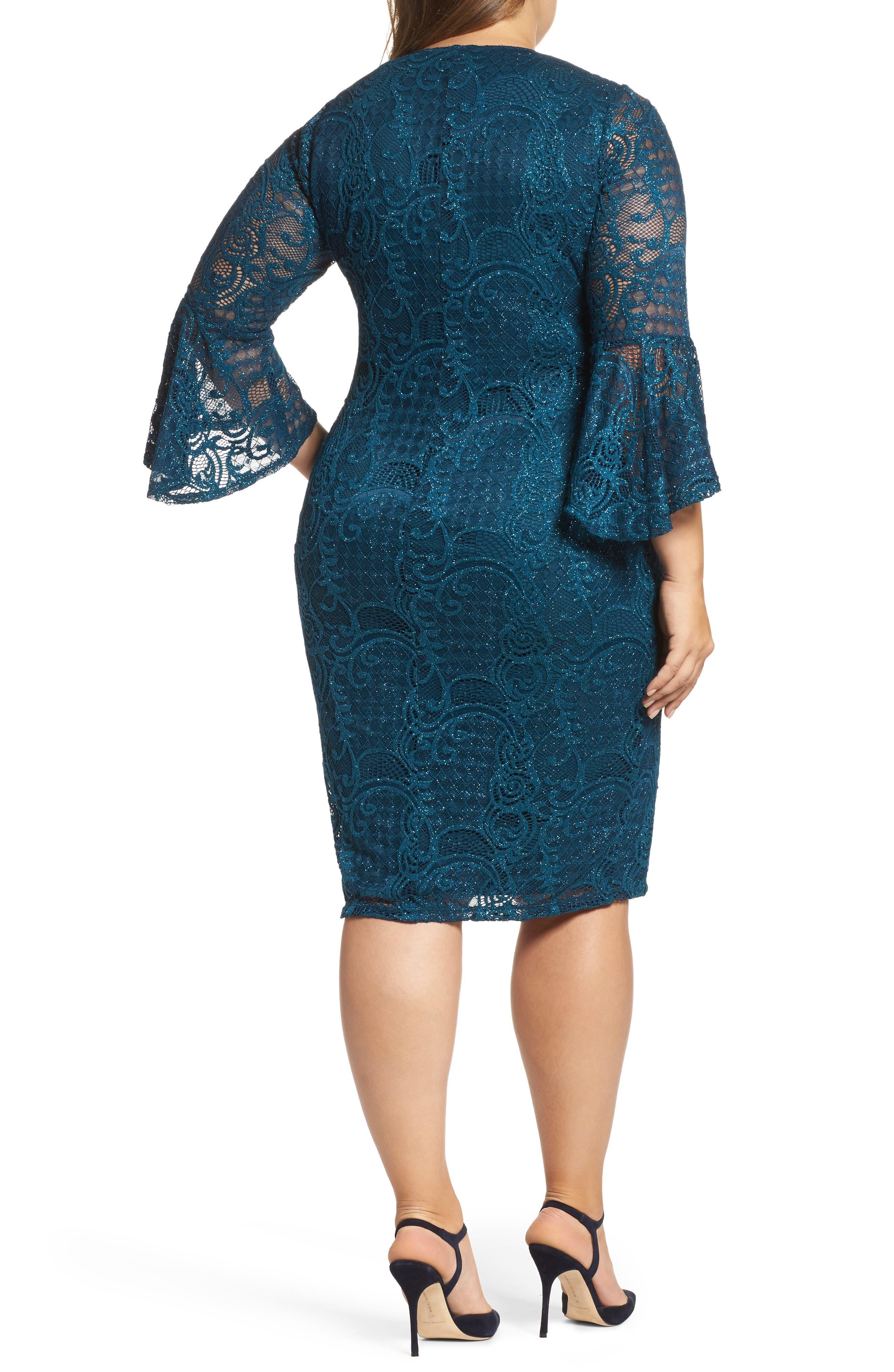 Bell Sleeve Glitter Lace Sheath Dress,                             Alternate thumbnail 2, color,                             412