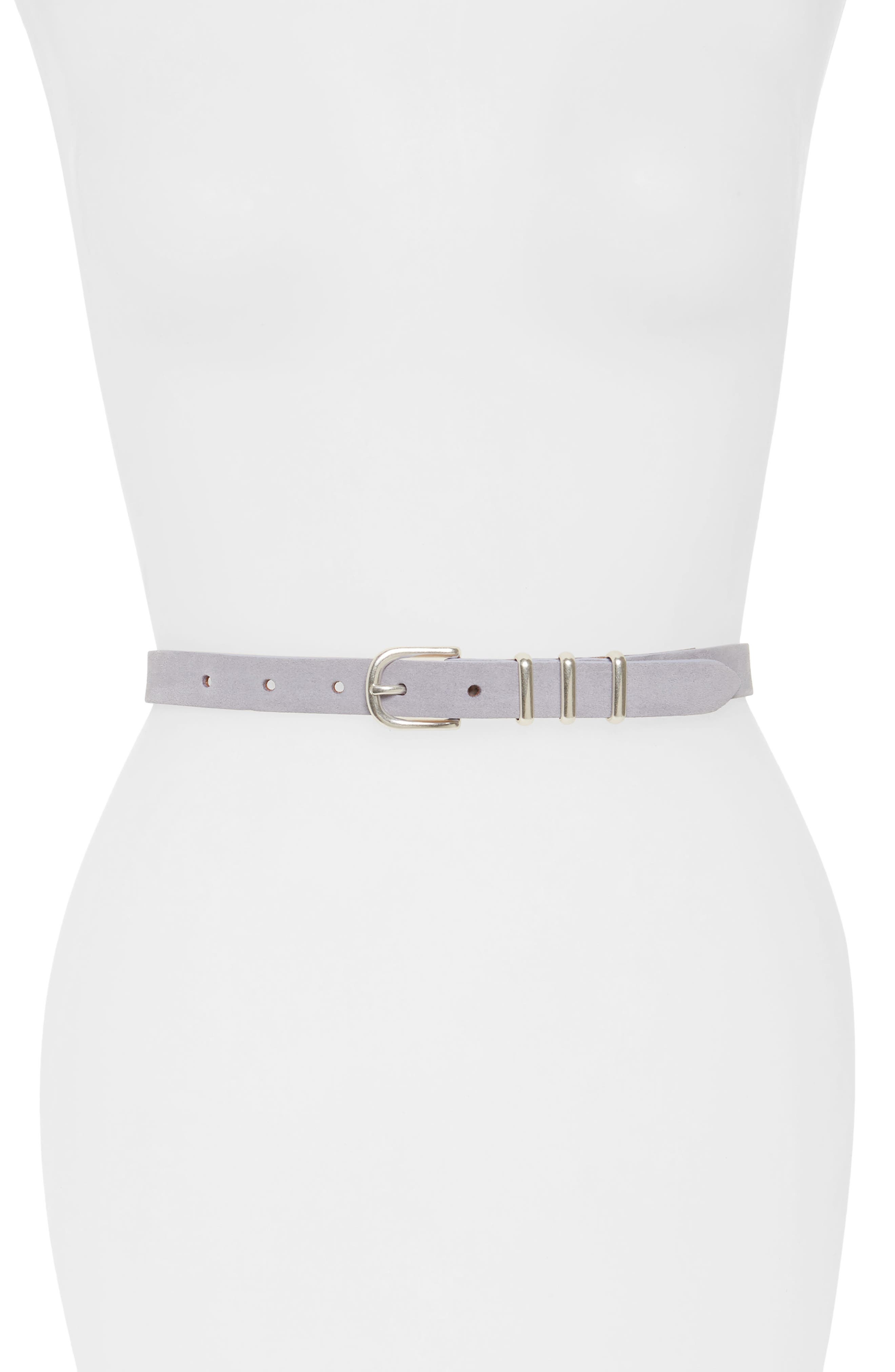 'Jet' Skinny Leather Belt,                             Main thumbnail 1, color,                             LILAC SUEDE