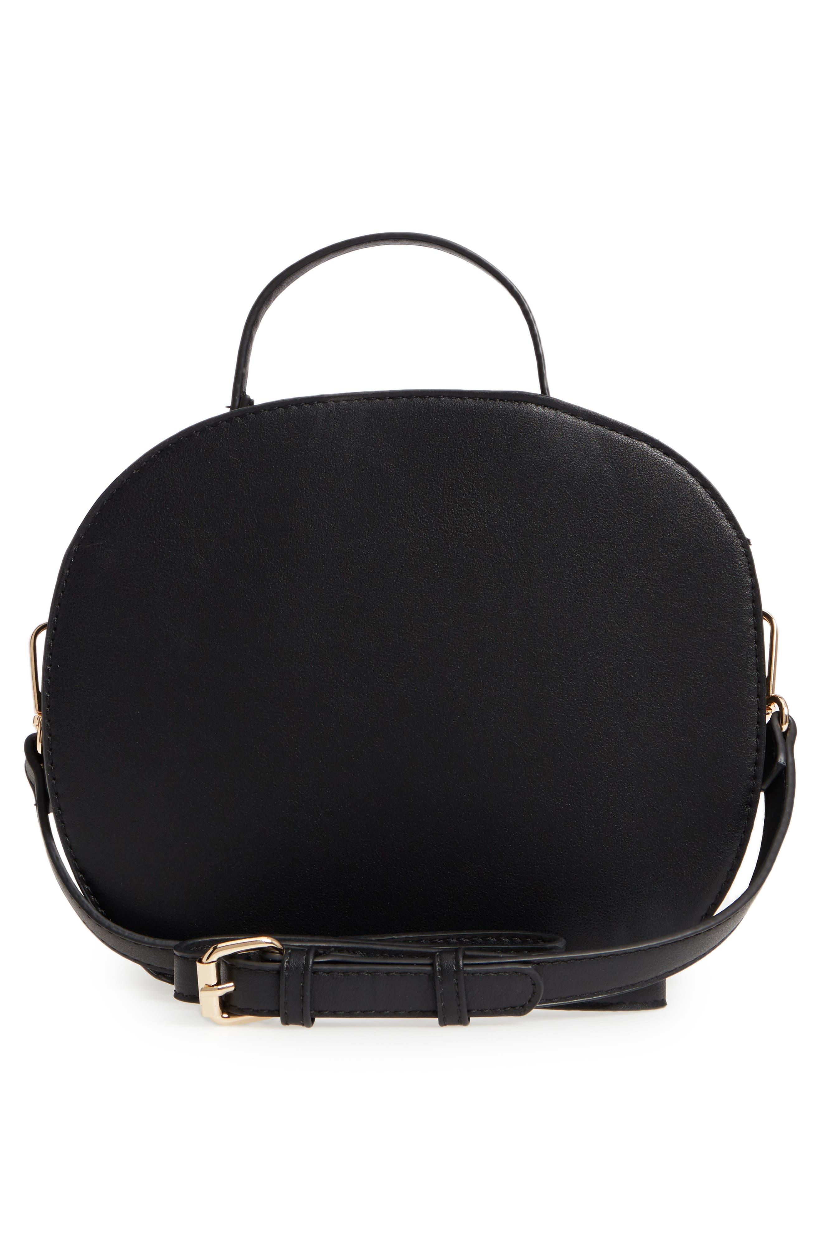 Oval Canteen Faux Leather Satchel,                             Alternate thumbnail 5, color,