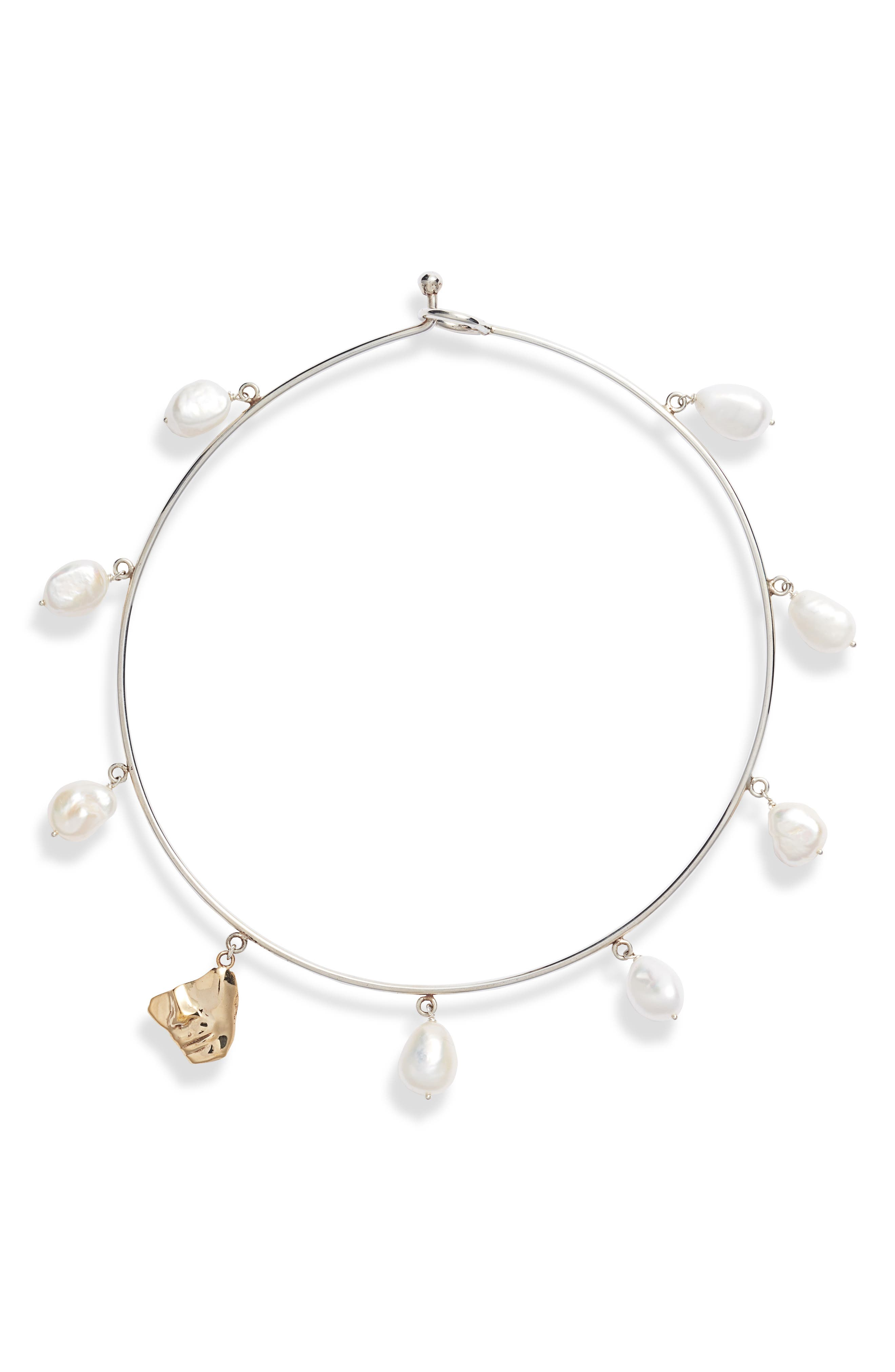 FARIS Portra Pearl Collar Necklace in Silver