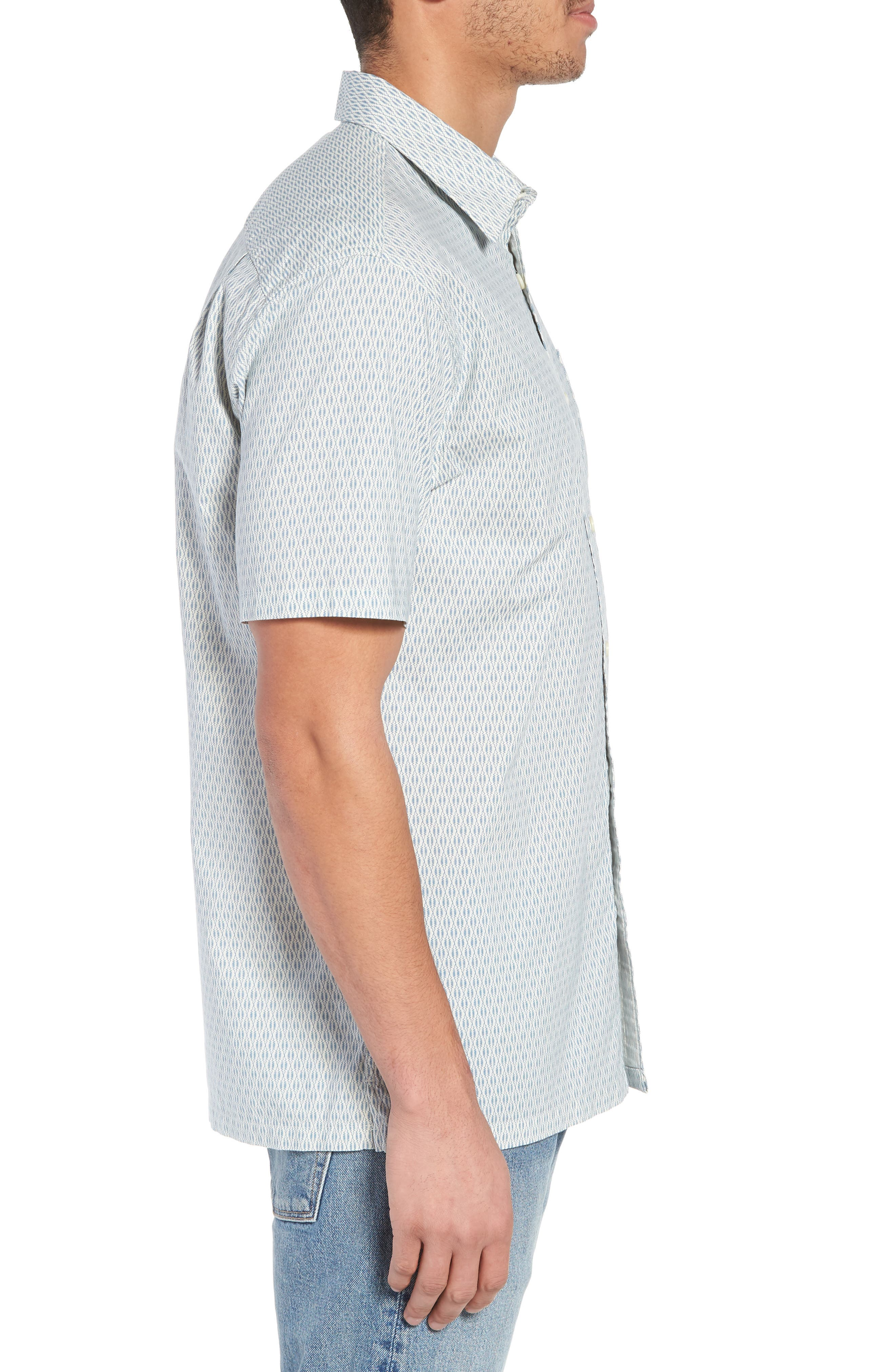 Regular Fit Print Short Sleeve Sport Shirt,                             Alternate thumbnail 3, color,                             VINTAGE NAVY SQUIGGLE