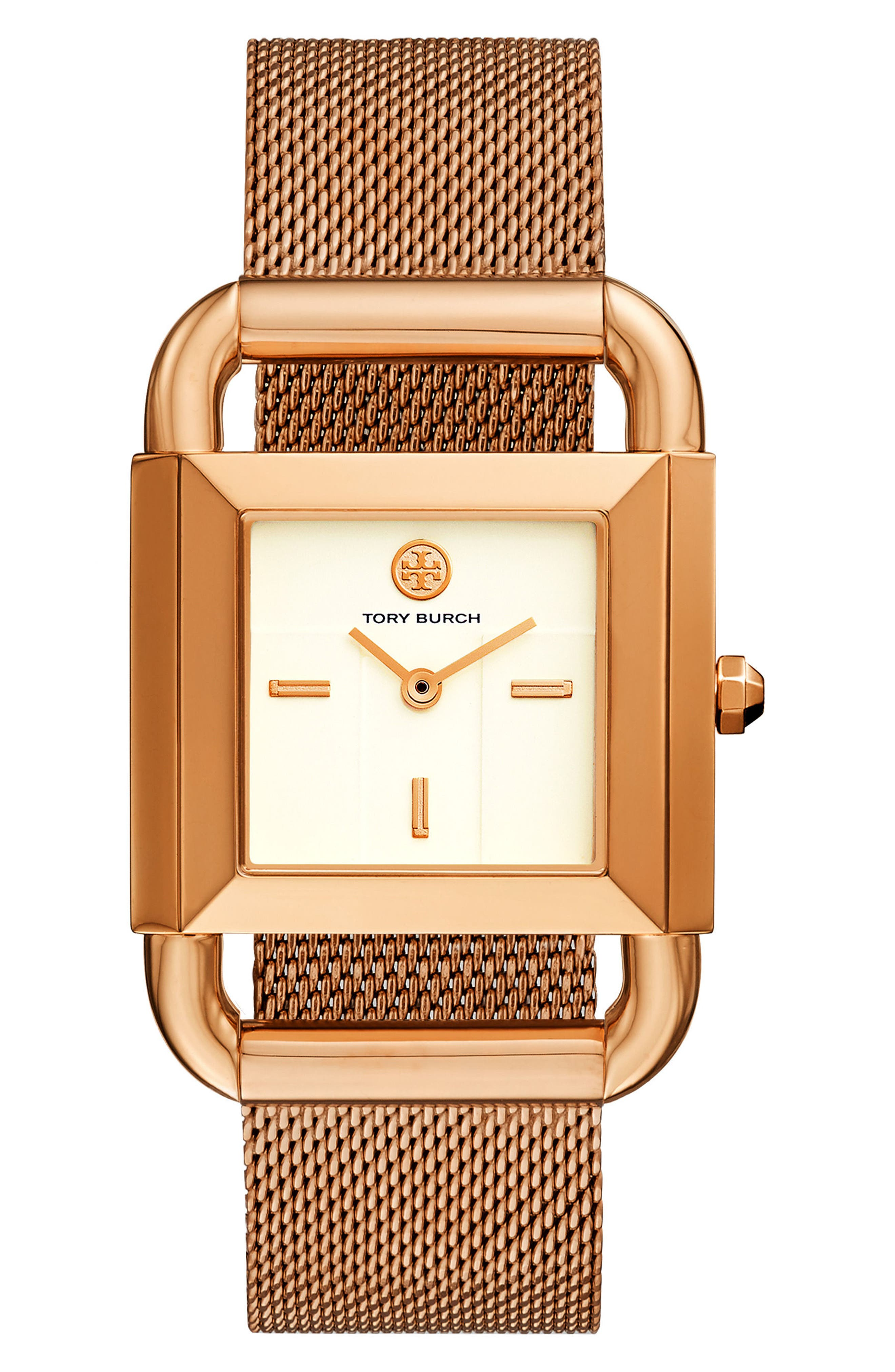 Phipps Leather Strap Watch, 29mm x 41mm,                             Main thumbnail 1, color,                             ROSE GOLD/ CREAM/ ROSE GOLD