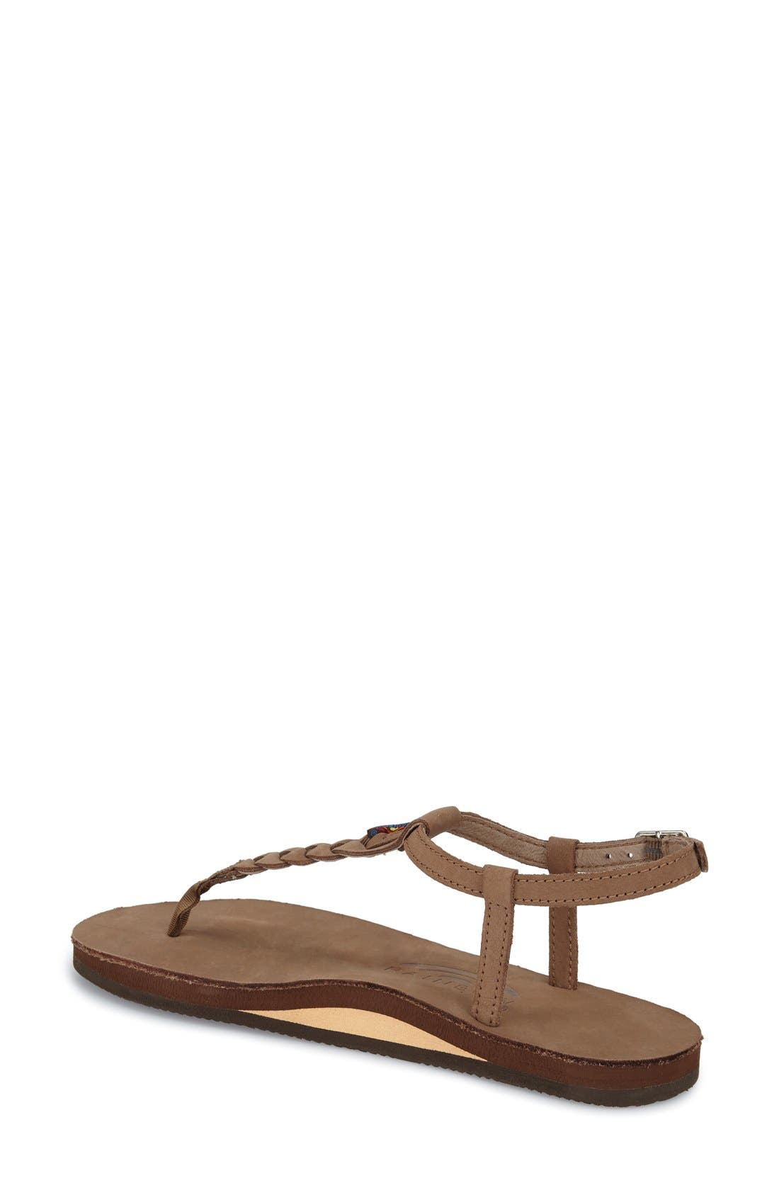 'T-Street' Braided T-Strap Sandal,                             Alternate thumbnail 3, color,
