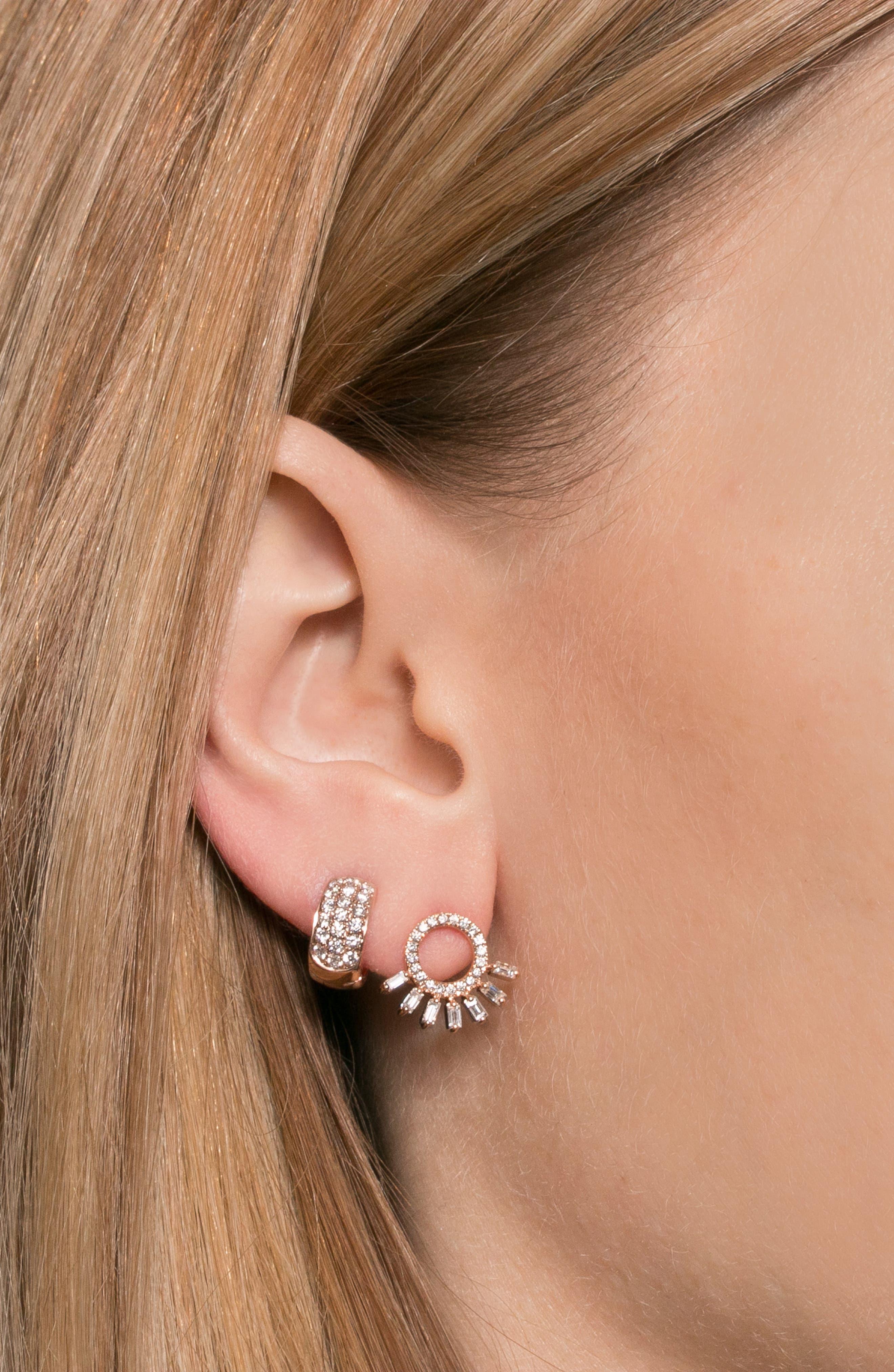 Dana Rebecca Mini Diamond Hoop Earrings,                             Alternate thumbnail 4, color,                             YELLOW GOLD