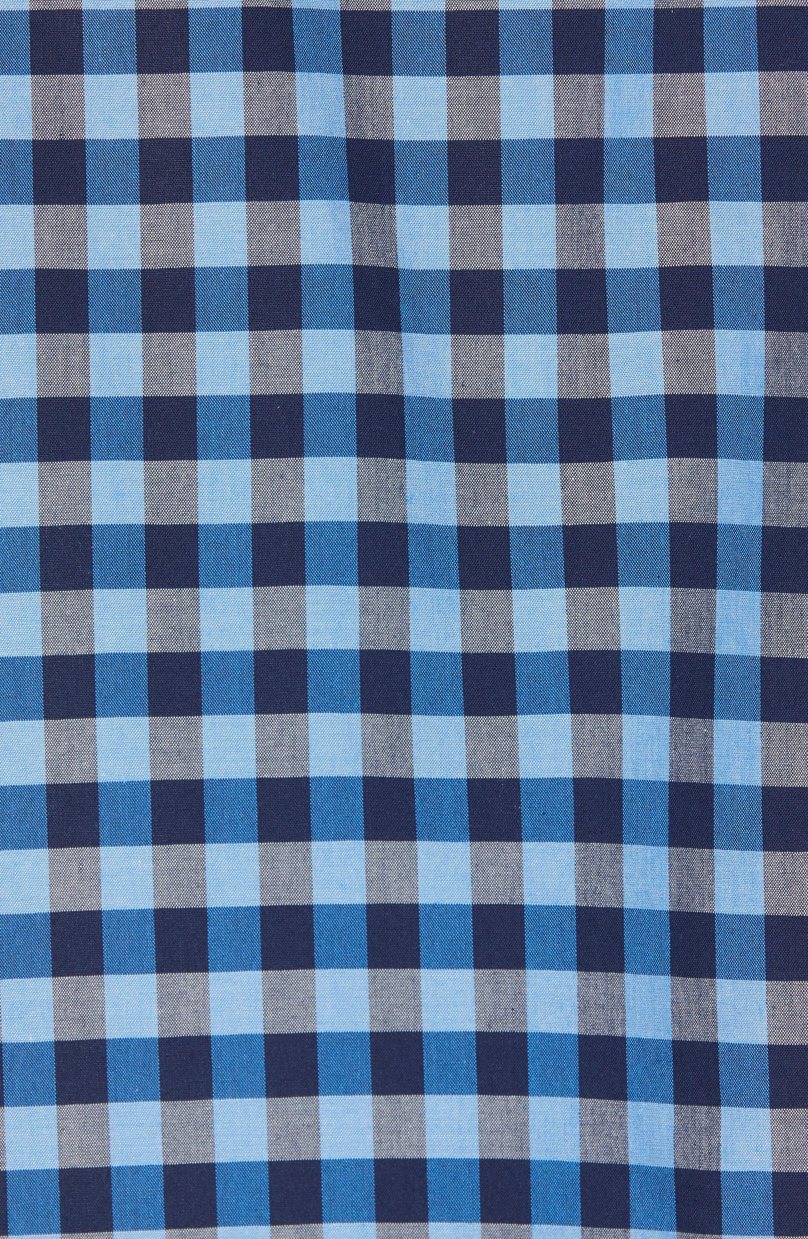 Smartcare<sup>™</sup> Regular Fit Gingham Sport Shirt,                             Alternate thumbnail 5, color,                             BLUE CAMP NAVY GINGHAM