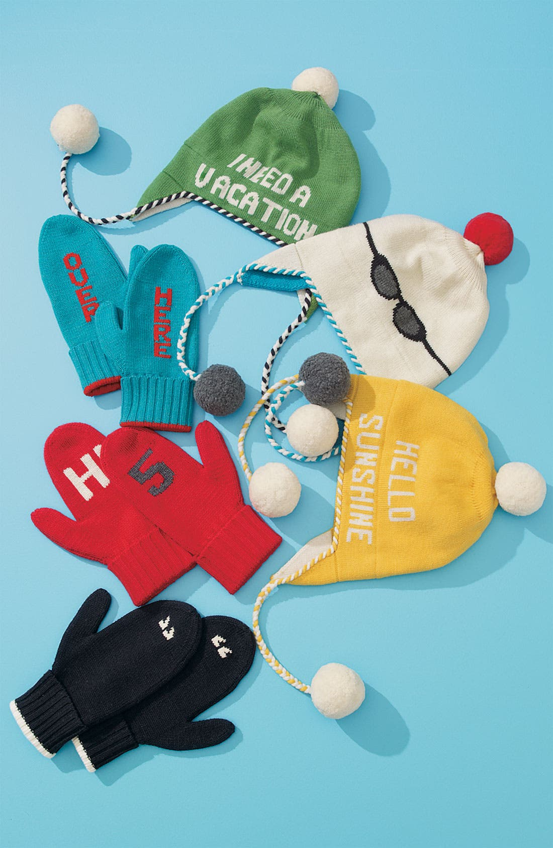 KATE SPADE NEW YORK,                             'hi 5' mittens,                             Alternate thumbnail 2, color,                             017